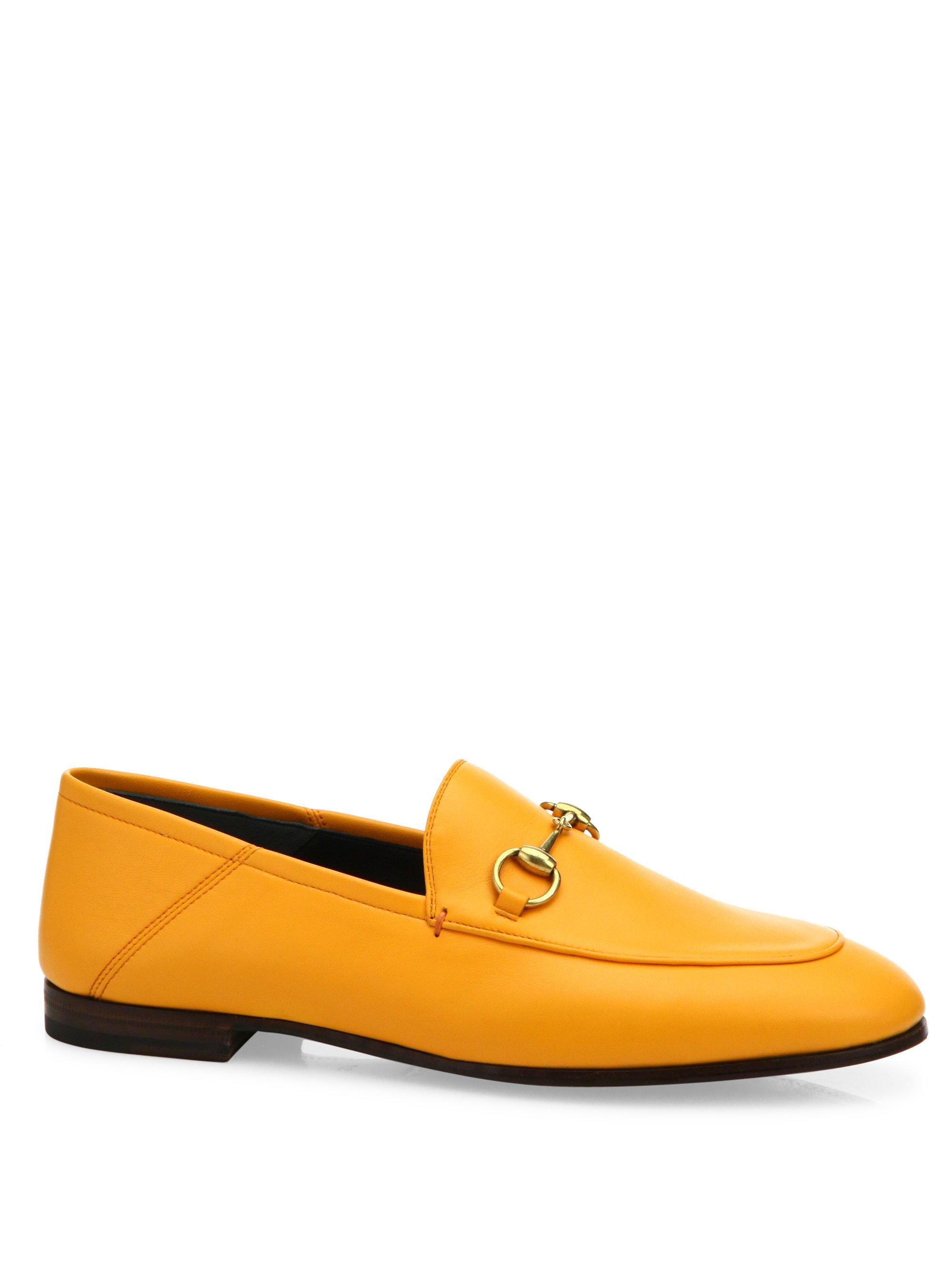 4989afb41 Lyst - Gucci Brixton Foldable Leather Loafers in Yellow