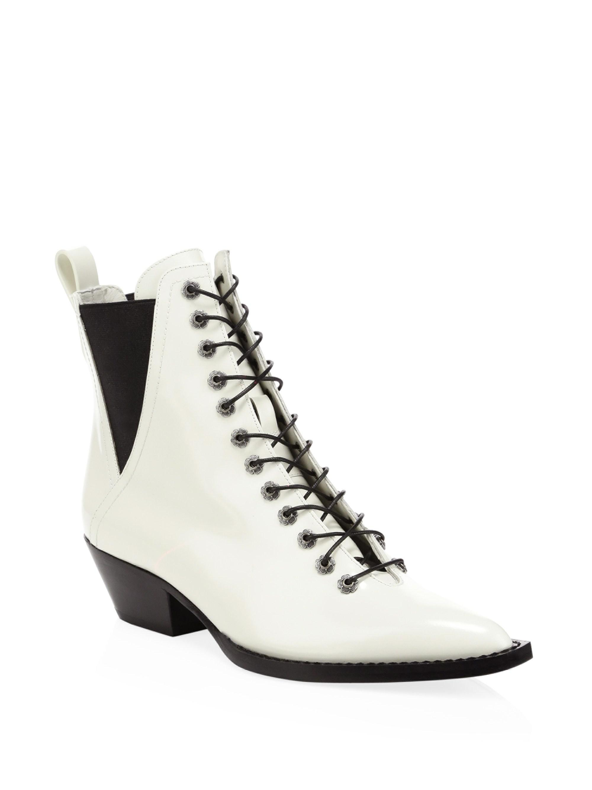 20364106139cb Coach Lace Up Bootie in White - Lyst