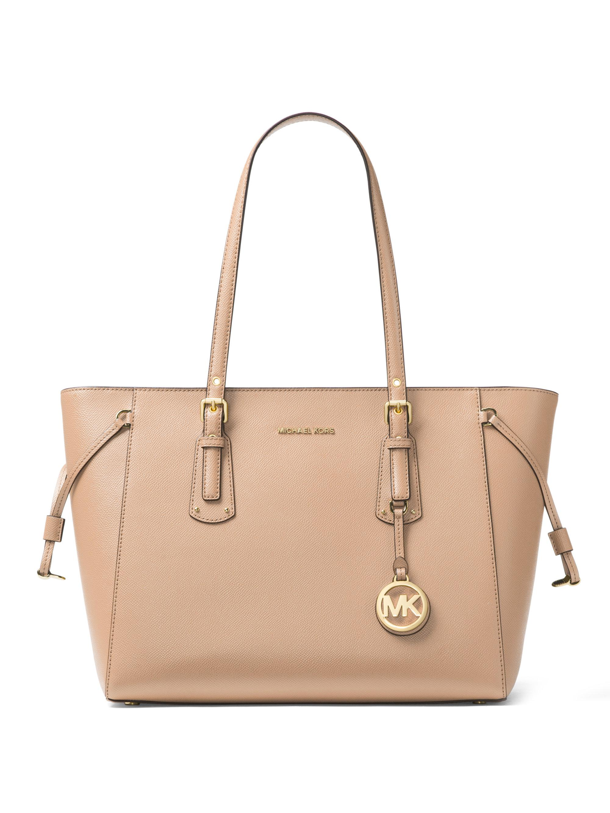 Voyager Medium Top Zip Tote Bag in Brown Monogrammed Canvas with Pink Flowers Michael Michael Kors