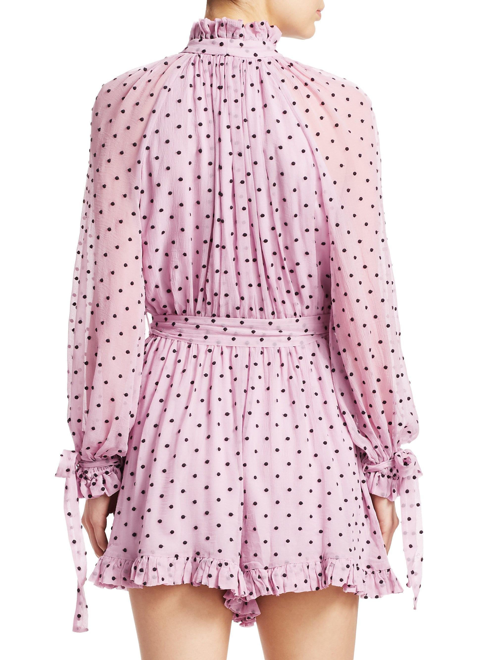 9d703d7bcc Lyst - Zimmermann Women s Polka Dot Silk Playsuit - Lilac Dot