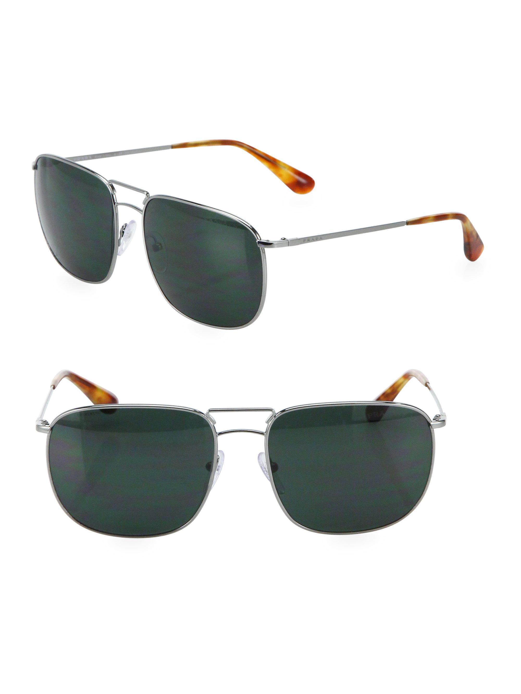 3defb79942ab Lyst - Prada 60mm Tortoise Pillow Sunglasses in Gray for Men