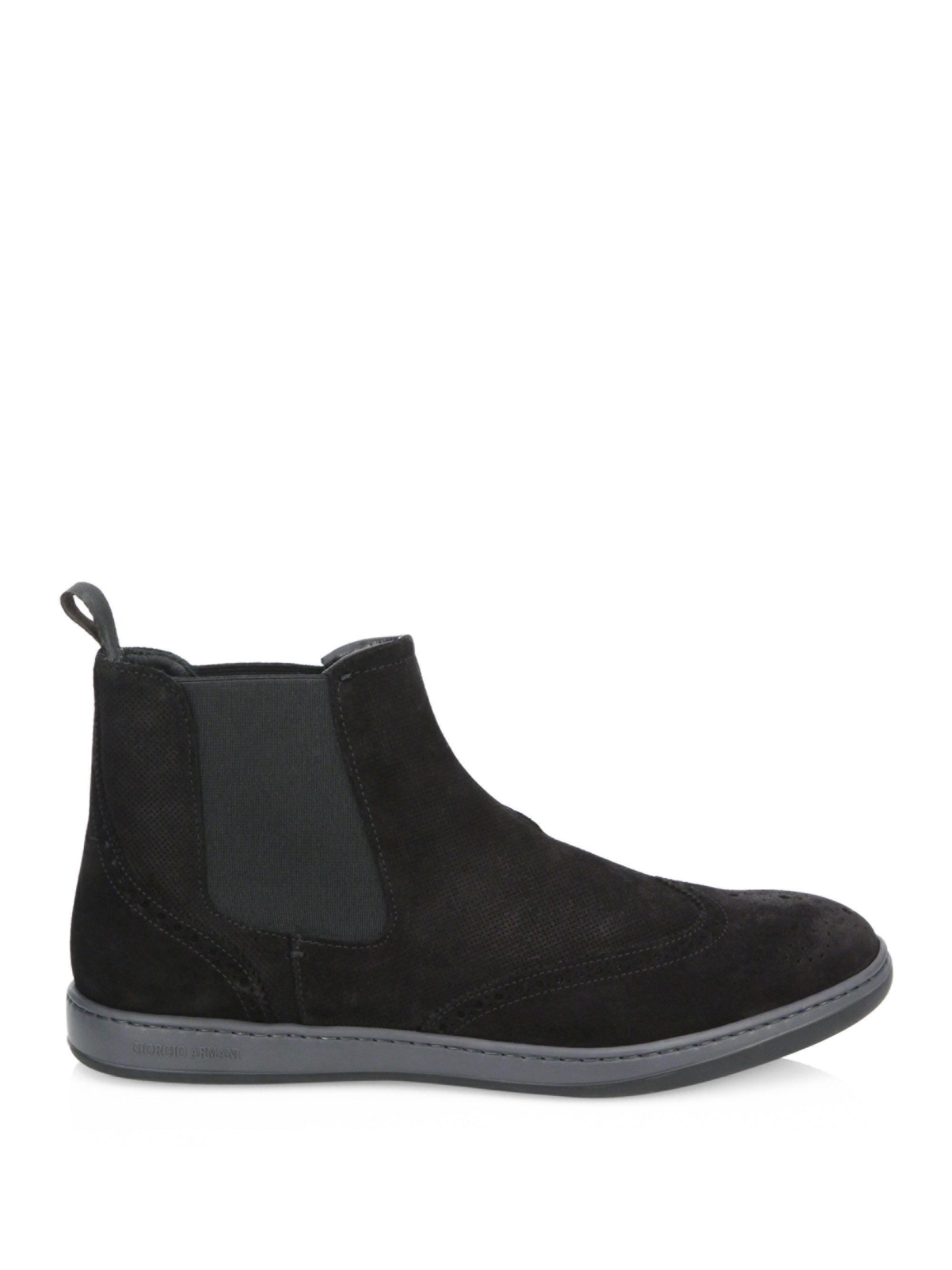 ArmaniSuede Wingtip Chelsea Boots