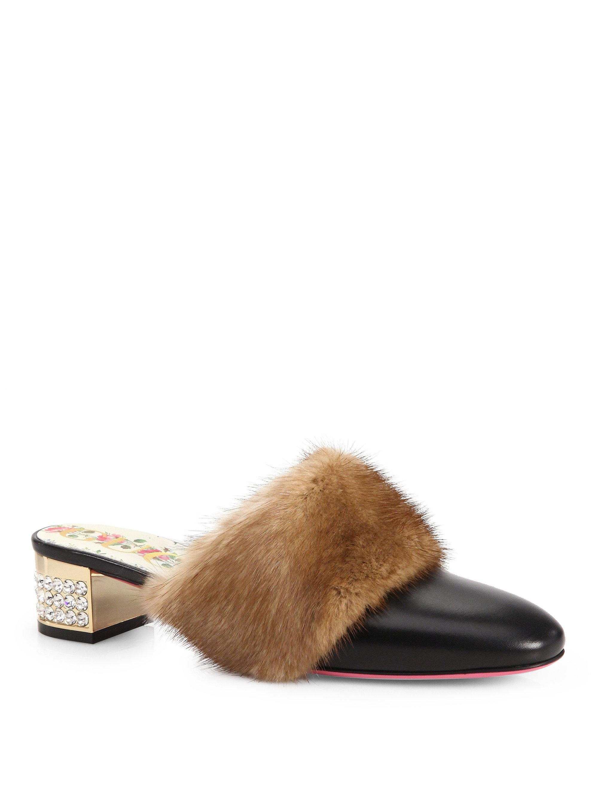 Gucci Loafer Mules leather crystals mink brown xigJE