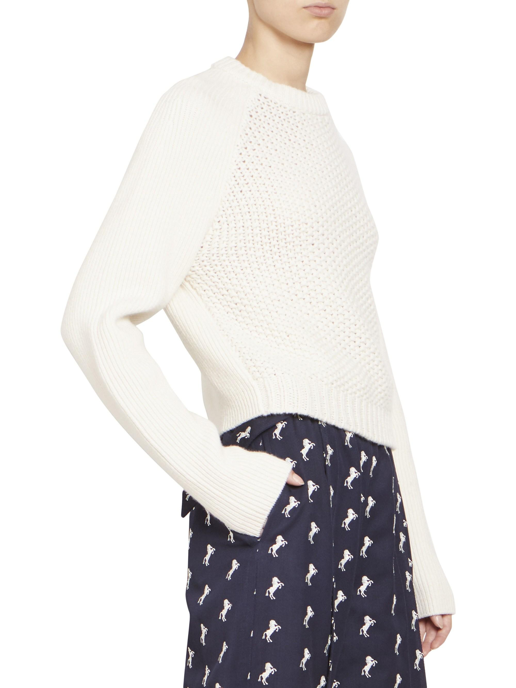 b10d97976ab7 Lyst - Chloé Chunky Wool Long Sleeve Knit Pullover in White