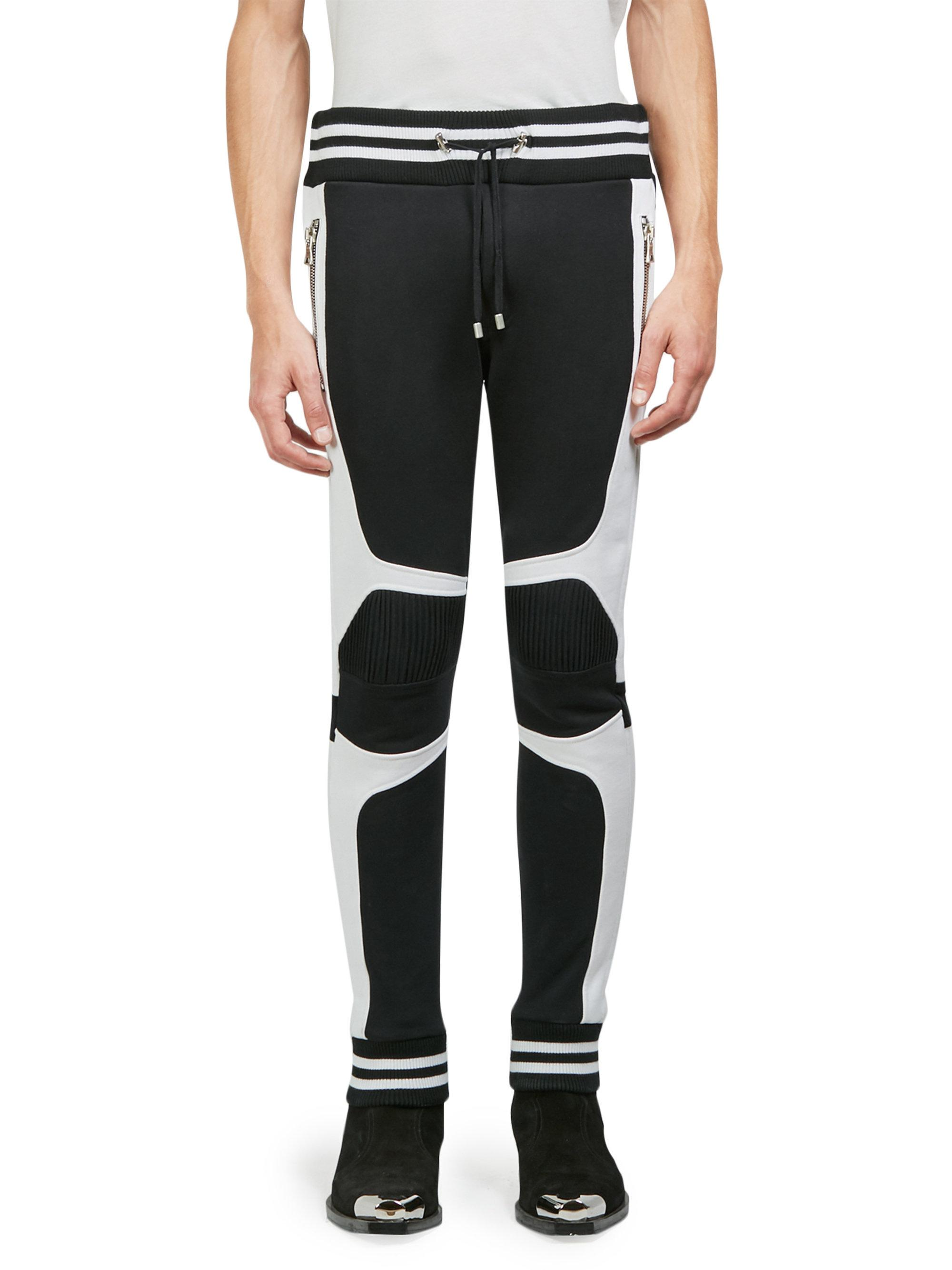 4f8dbd0462a9 Lyst - Balmain Stripe-trimmed Cotton Moto Sweatpants in Black for Men