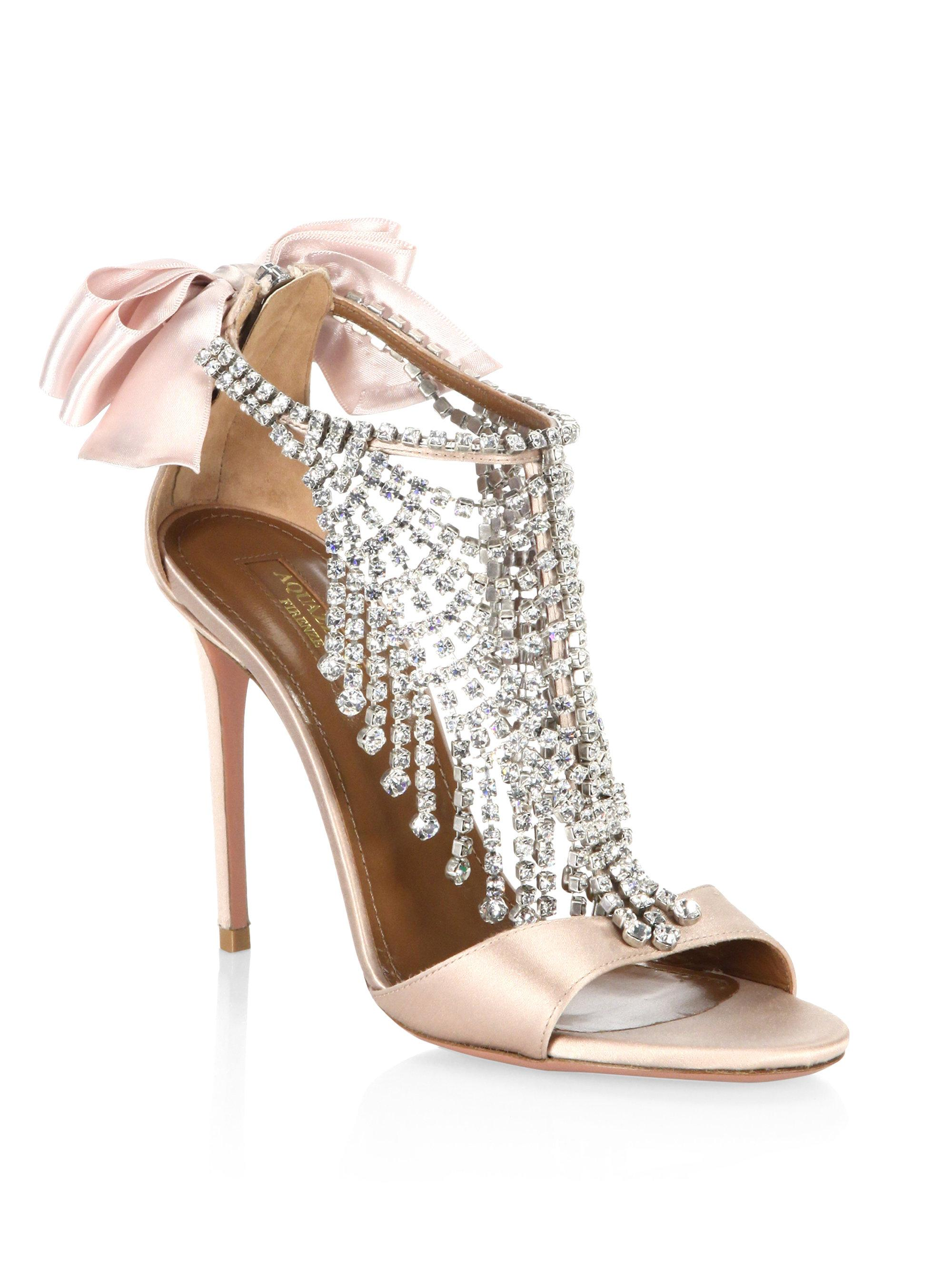 AquazzuraFifth Avenue Crystal & Metallic Leather Sandals Gb5oEhXG