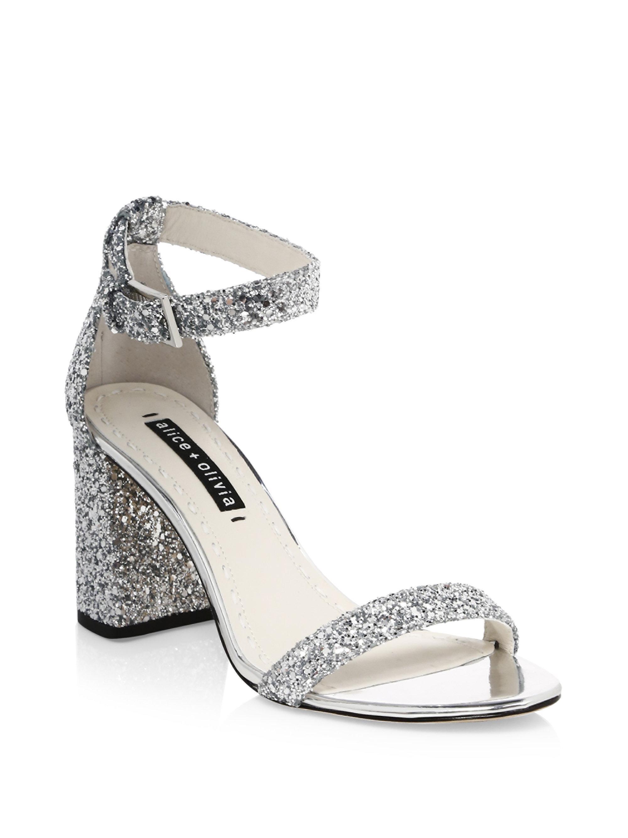 11b634f15c84 Alice + Olivia Lillian Glitter Leather Ankle-strap Heels in Metallic ...