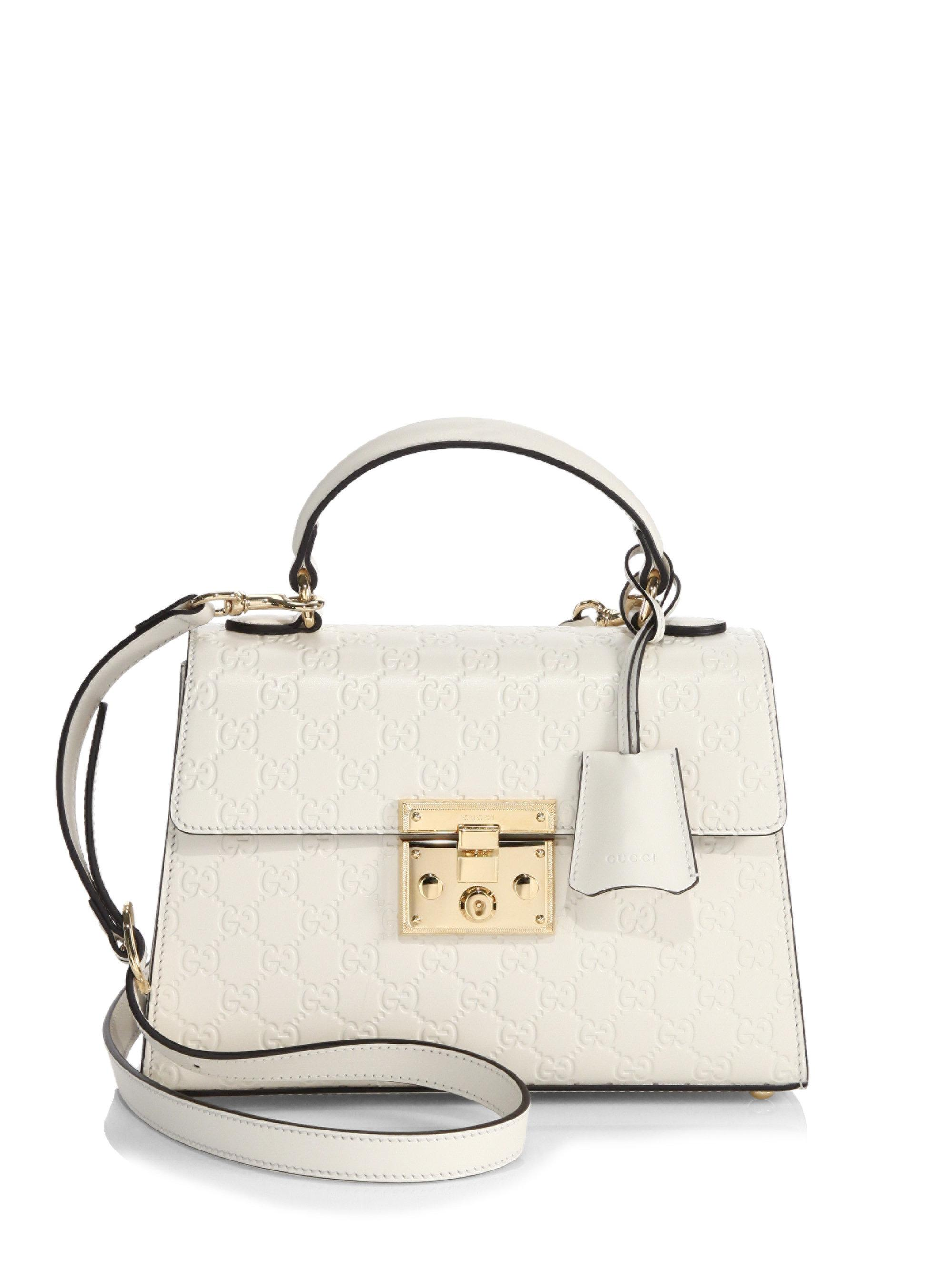 c77e61db1 Gucci Padlock Small Gg Leather Top-handle Bag in White - Lyst