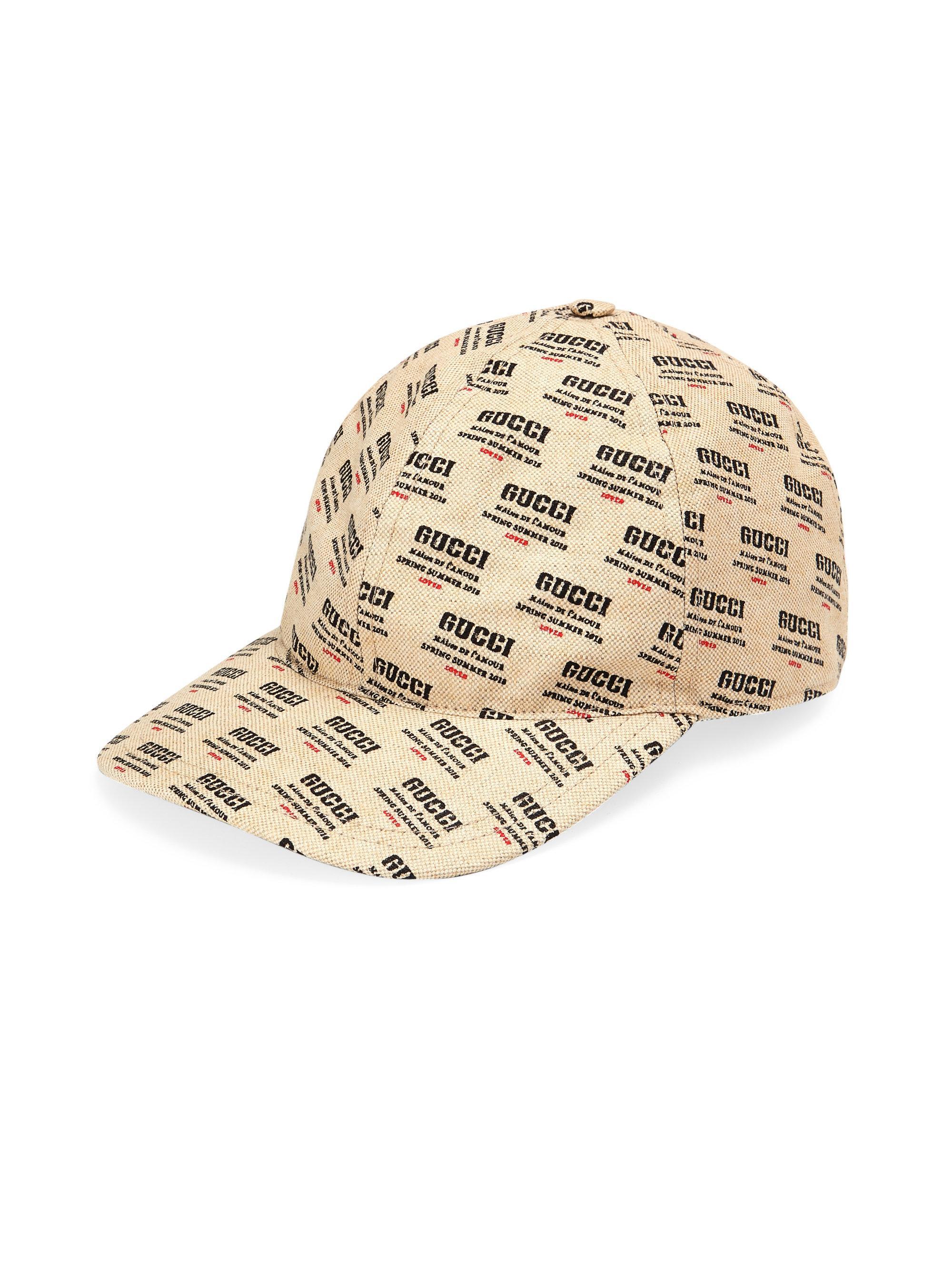 2796a898531 Gucci - Red Logo Invite Print Canvas Baseball Hat for Men - Lyst. View  fullscreen