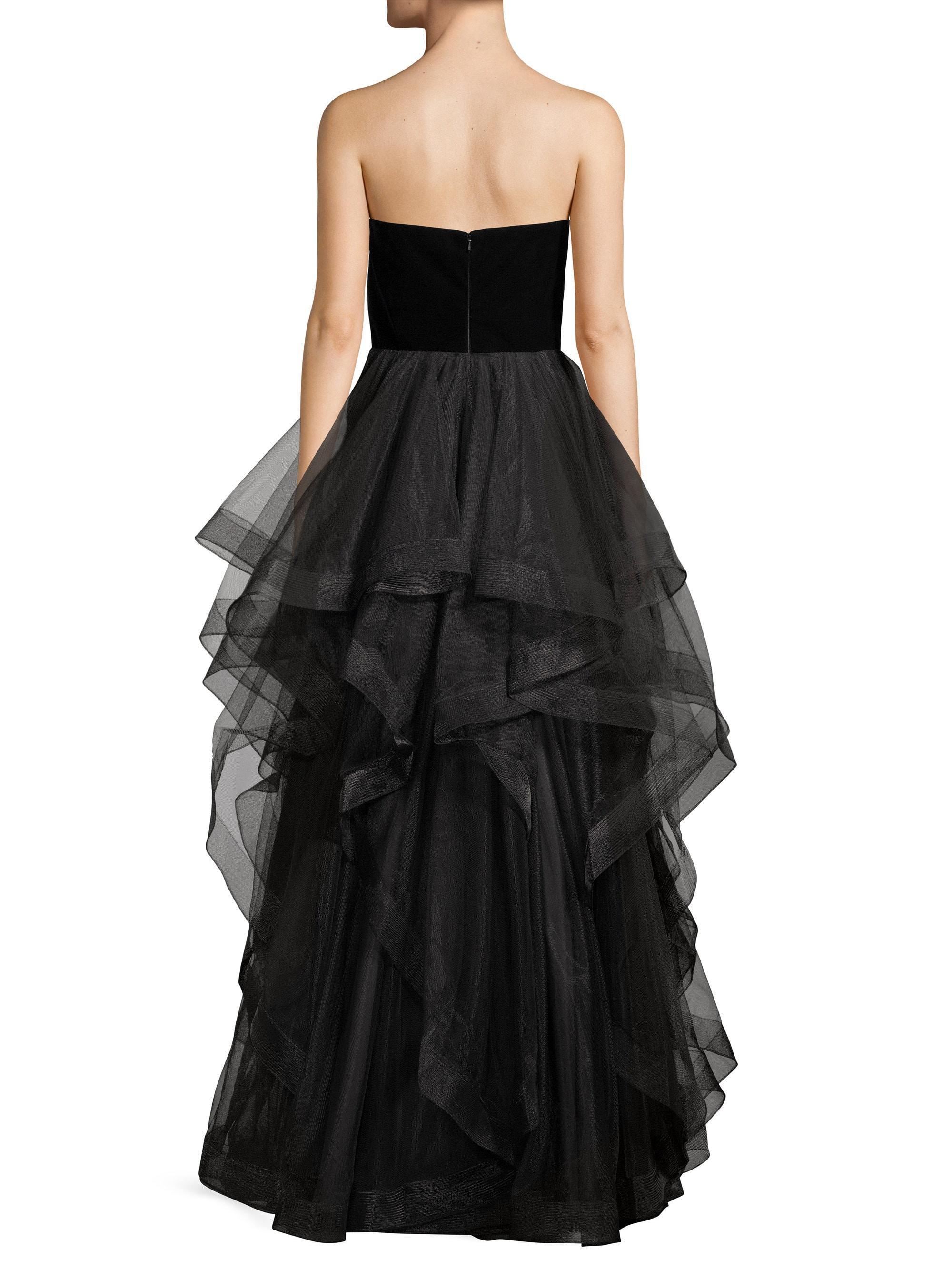 540193277ec4 Basix Black Label Women's Strapless Velvet Cascade Tulle Gown - Black in  Black - Lyst