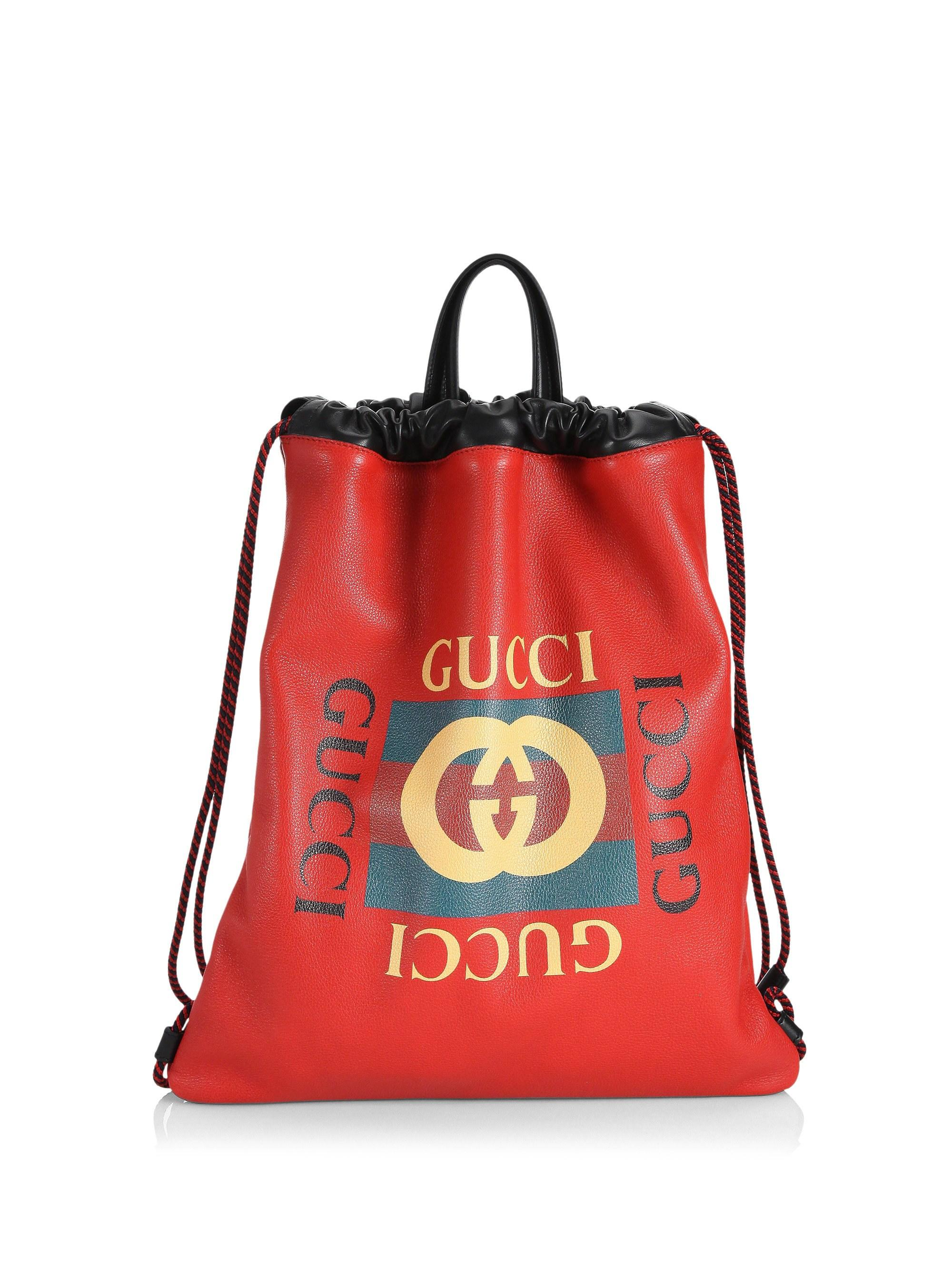 7bcc95bdb436 Gucci - Red Logo Leather Drawstring Backpack for Men - Lyst. View fullscreen
