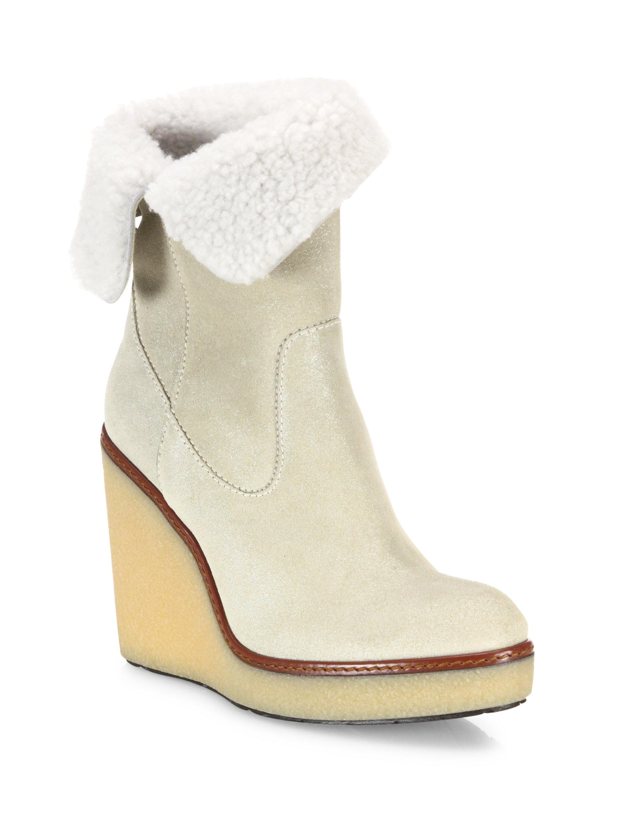 537876d34632 Lyst - Moncler Regine Shearling   Suede Wedge Booties in Natural