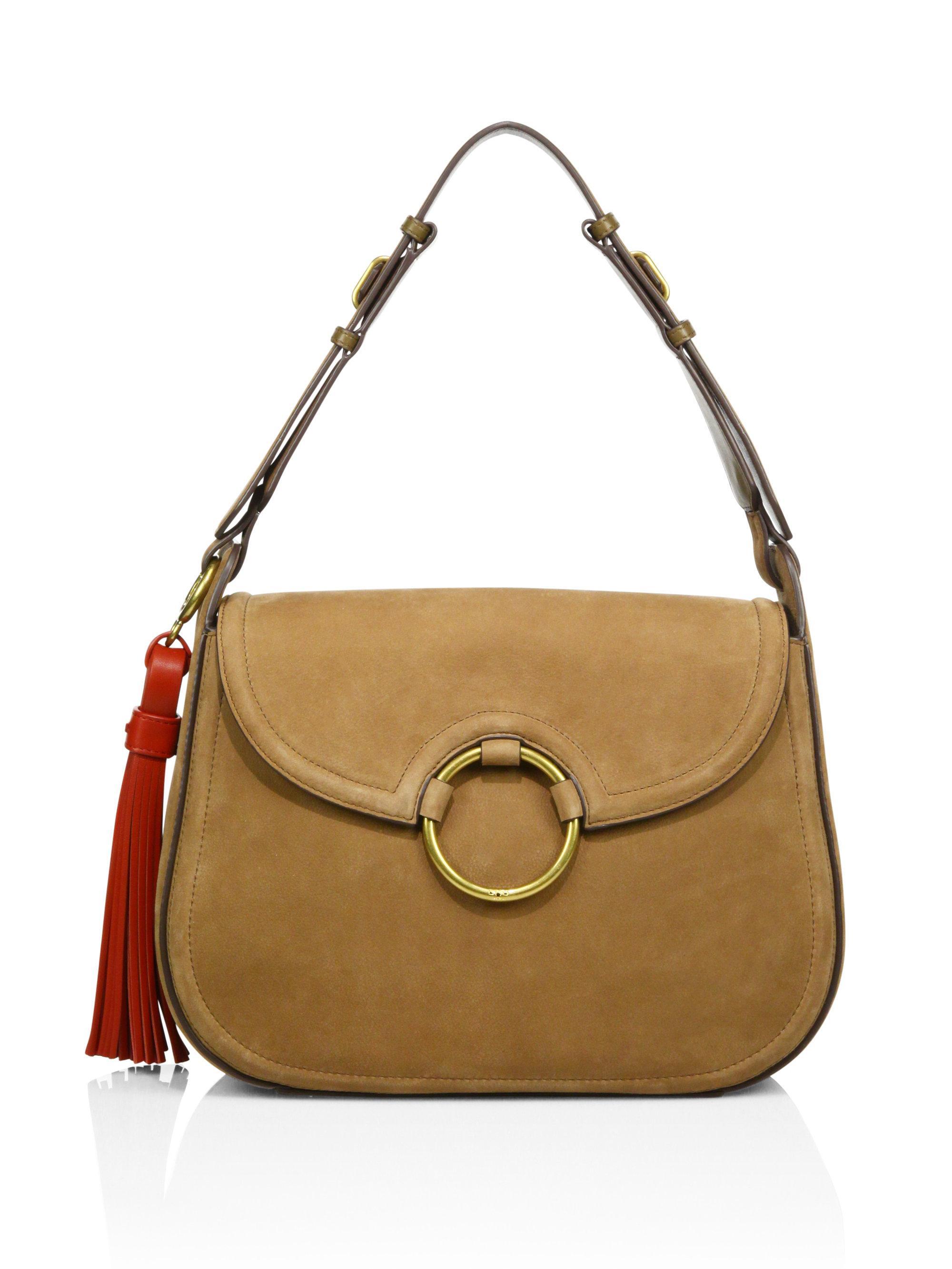 114d005a87031 ... cheap tory burch tassel suede large shoulder bag lyst 0ff2a 0b9df
