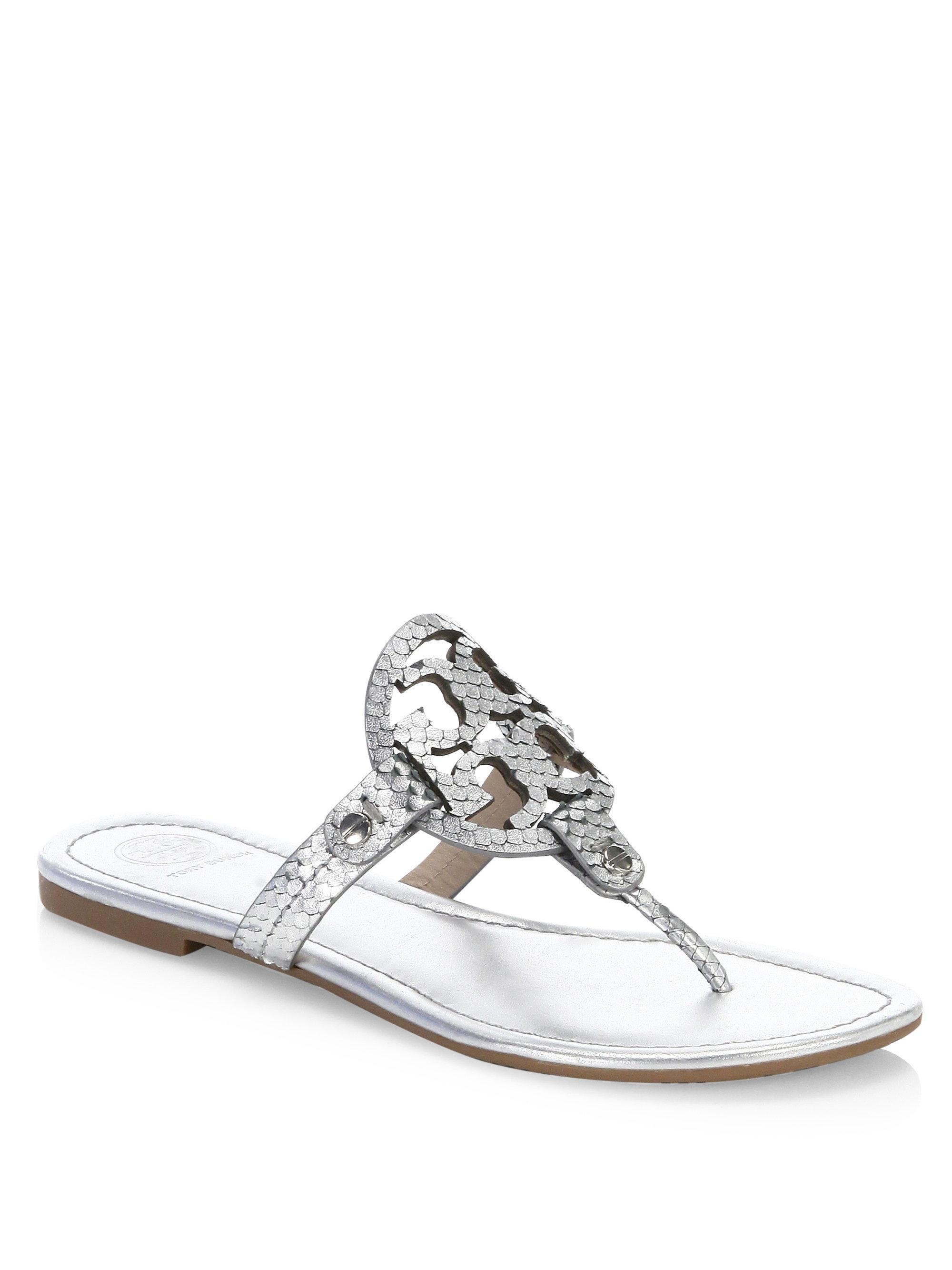 d343760ca2ebe Tory Burch - Metallic Miller Leather Thong Sandals - Lyst. View fullscreen