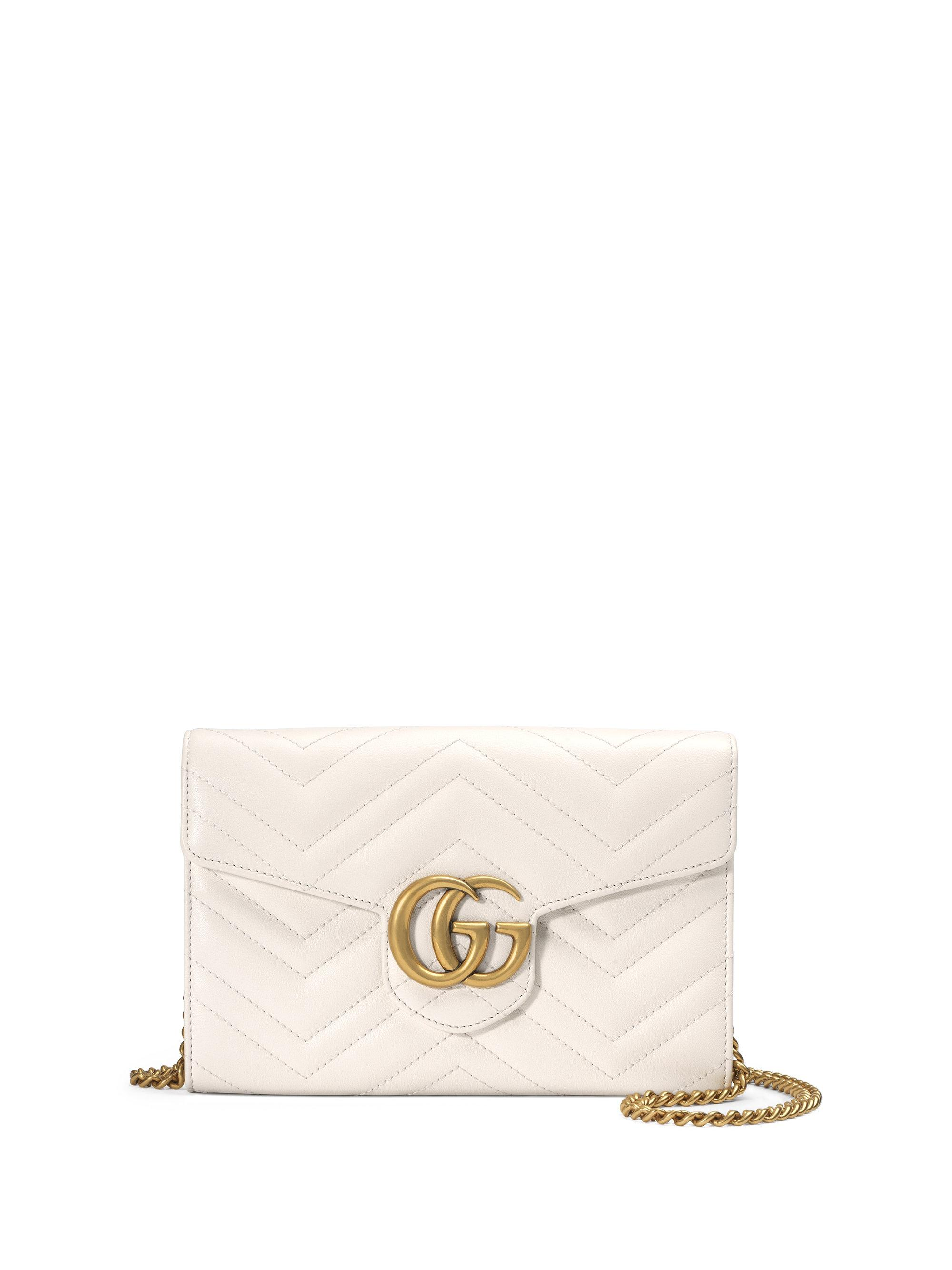 c9491704aa0d60 Gucci Gg Marmont Matelassé Leather Chain Wallet in White - Lyst