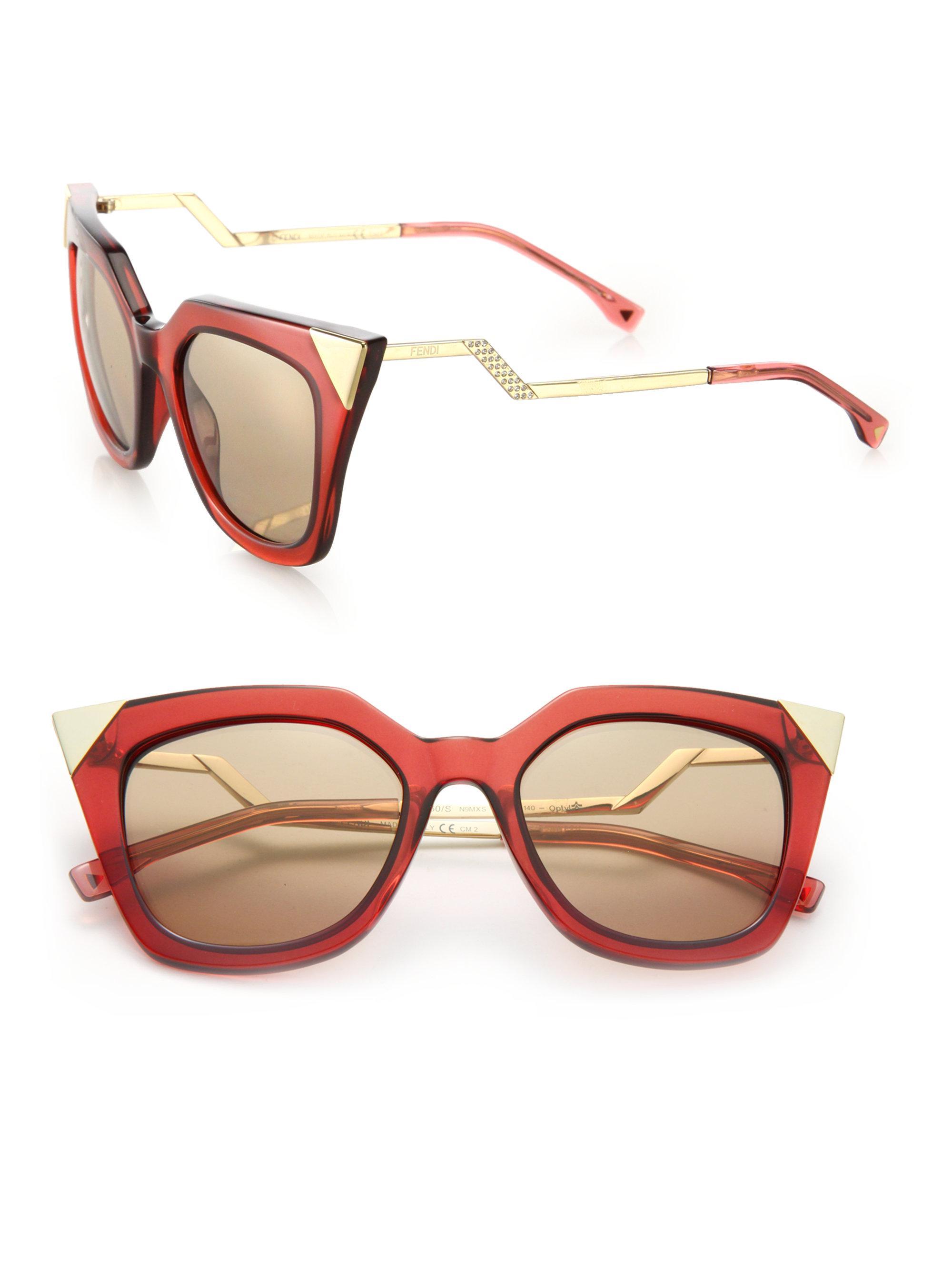 c952ac247f6b ... Fendi Zig zag 52mm Cat Eye Sunglasses in Metallic Lyst