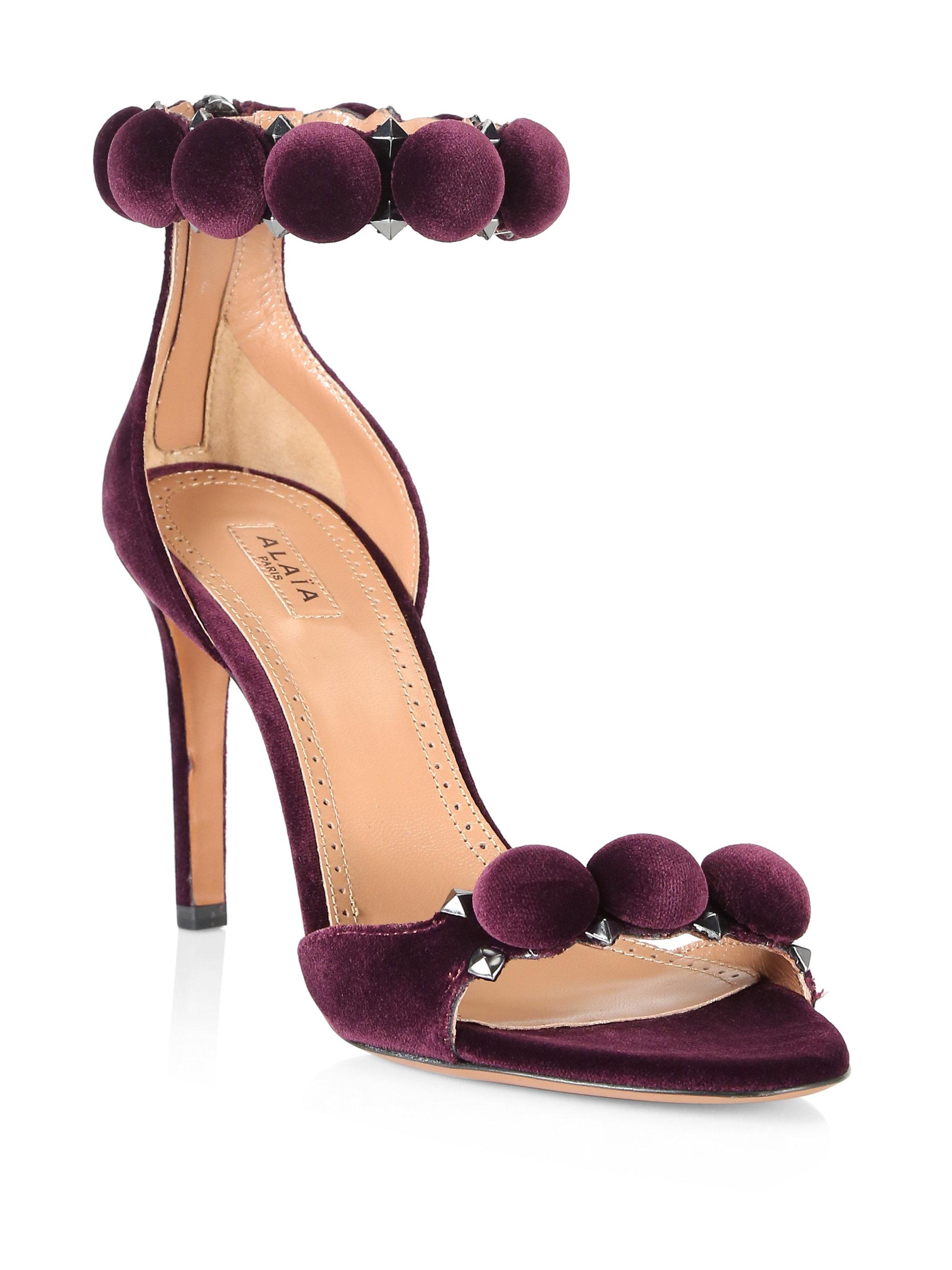 c790ce78d63d Lyst - Alaïa Velour Bomb Stiletto Sandals in Purple