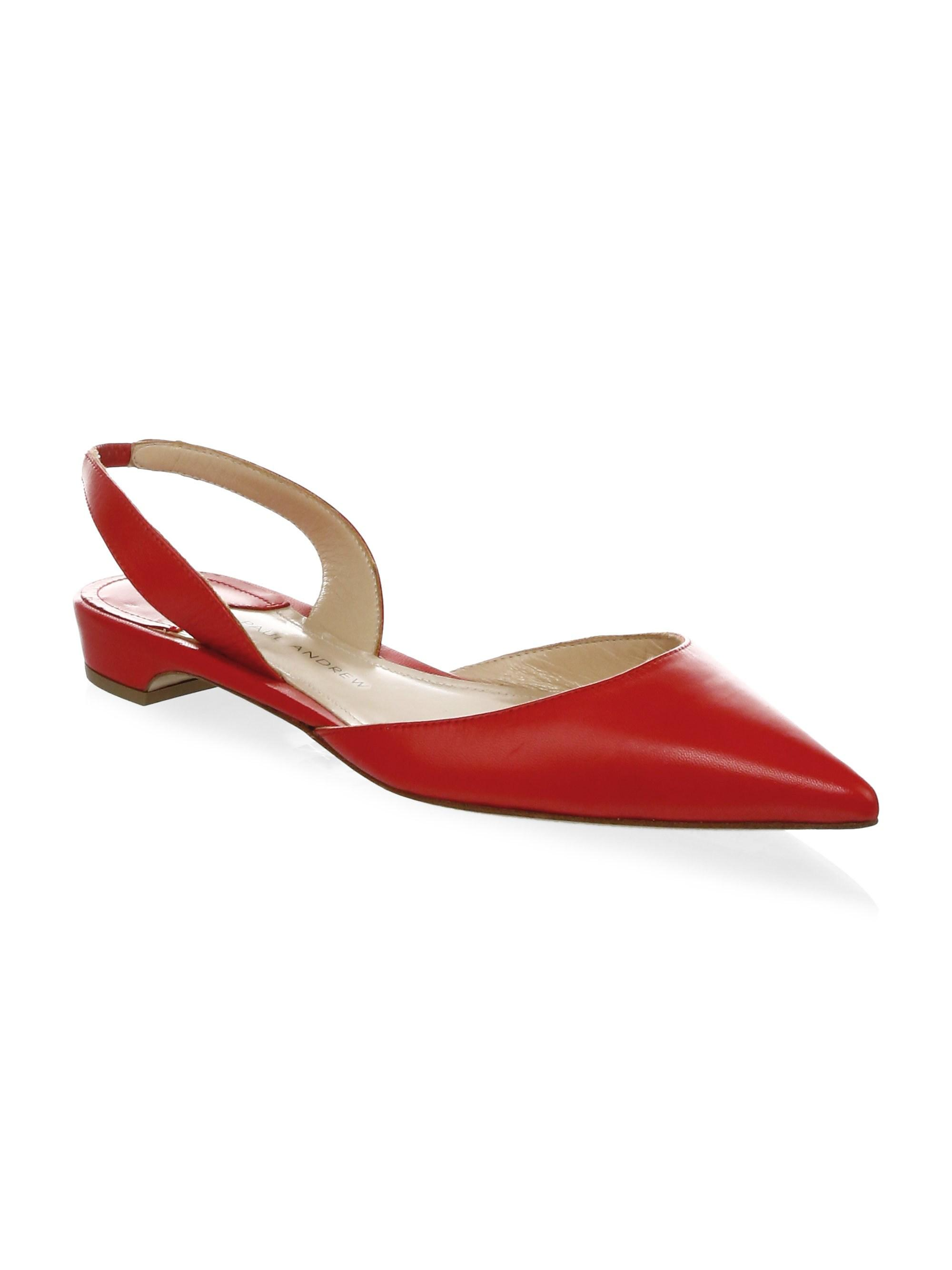 c724bb00e0b Lyst - Paul Andrew Rhea Patent Leather Slingback Flats in Red