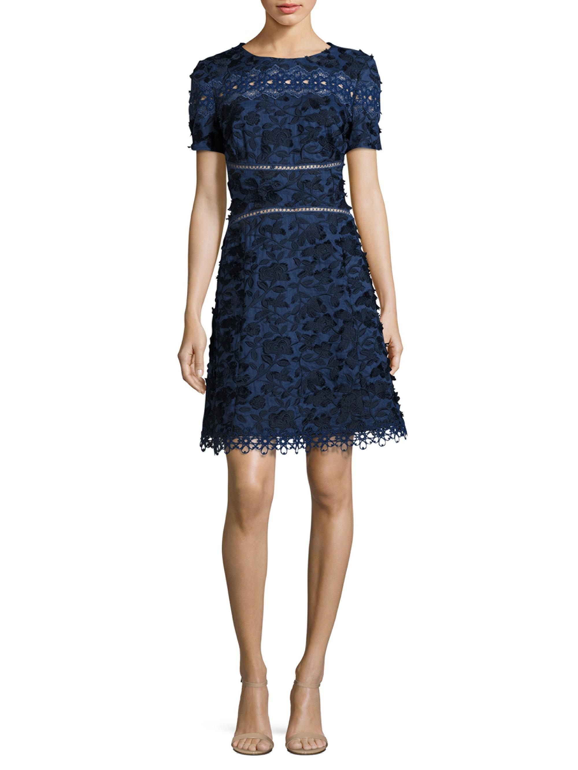 241b06dcdefb Elie Tahari Adina Embroidered A-line Dress in Blue - Lyst