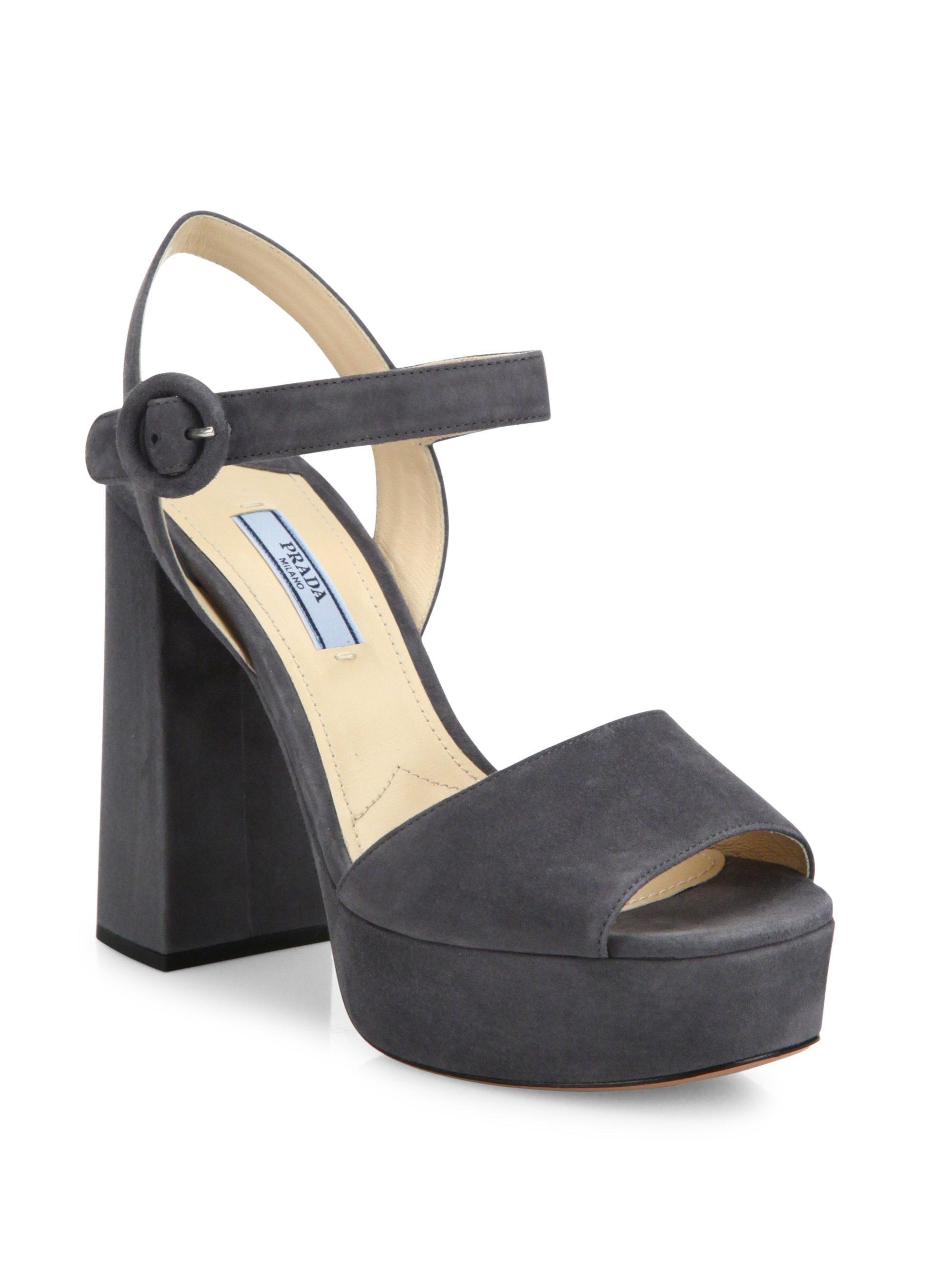 65e2b5230143 Lyst - Prada Suede Peep Toe Platform Sandals in Black