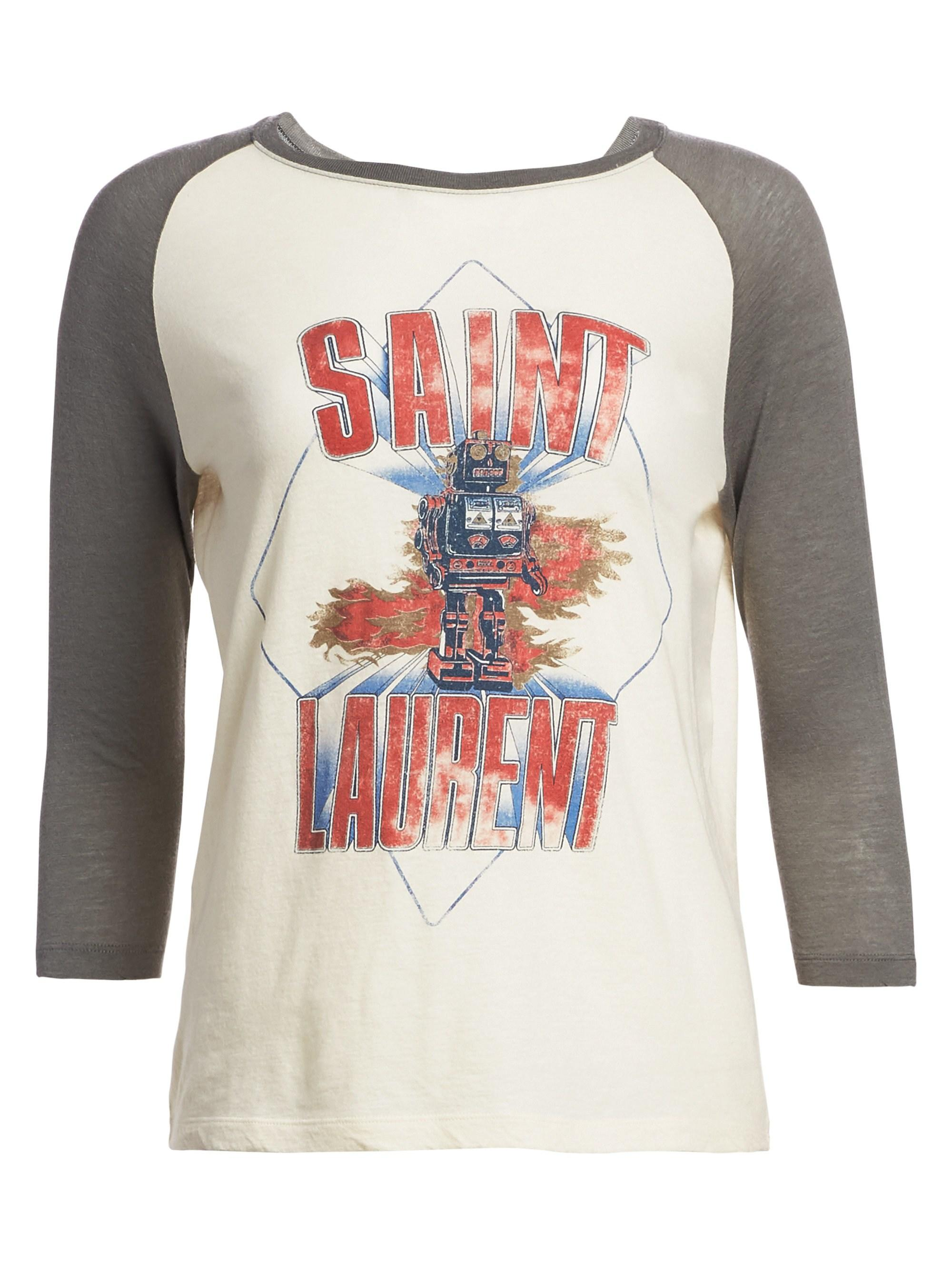 883f497b1e0 Saint Laurent Women's Robot Raglan T-shirt - Natural in Natural - Lyst