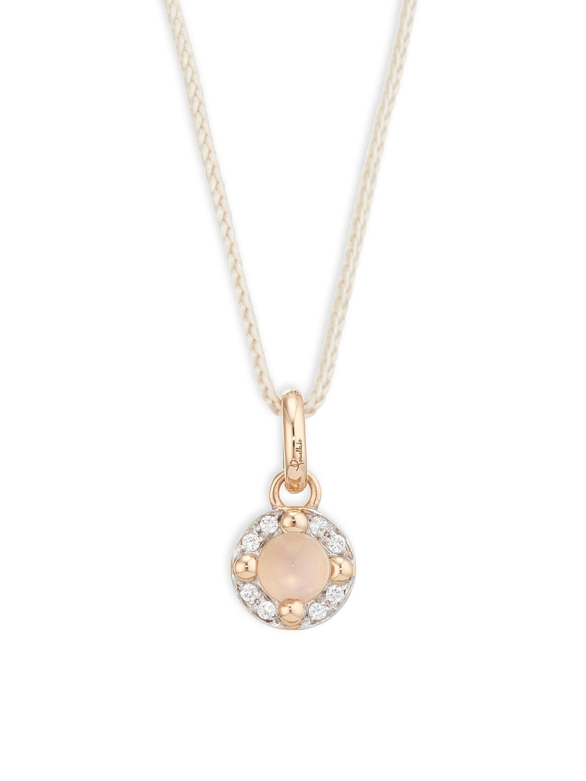 POMELLATO Mama Non Mama Pendant Necklace in Rose Gold with Moonstone & Diamonds QnC3HdZuw