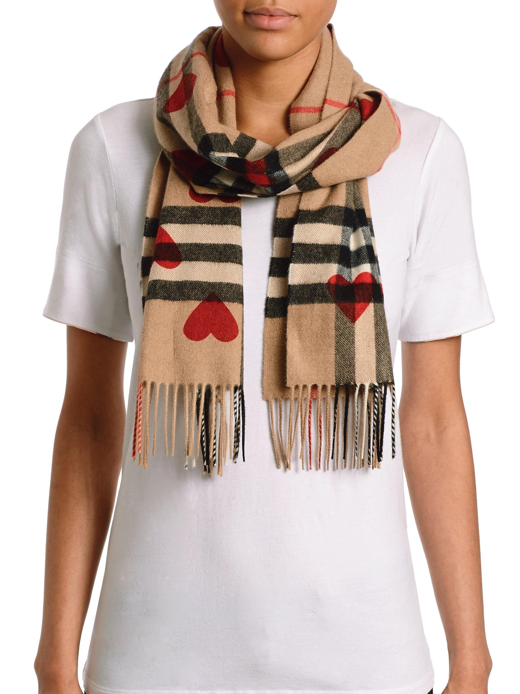 e1bc0ff0b46 ... where can i buy lyst burberry heart print giant check cashmere scarf in  red b90f8 61520