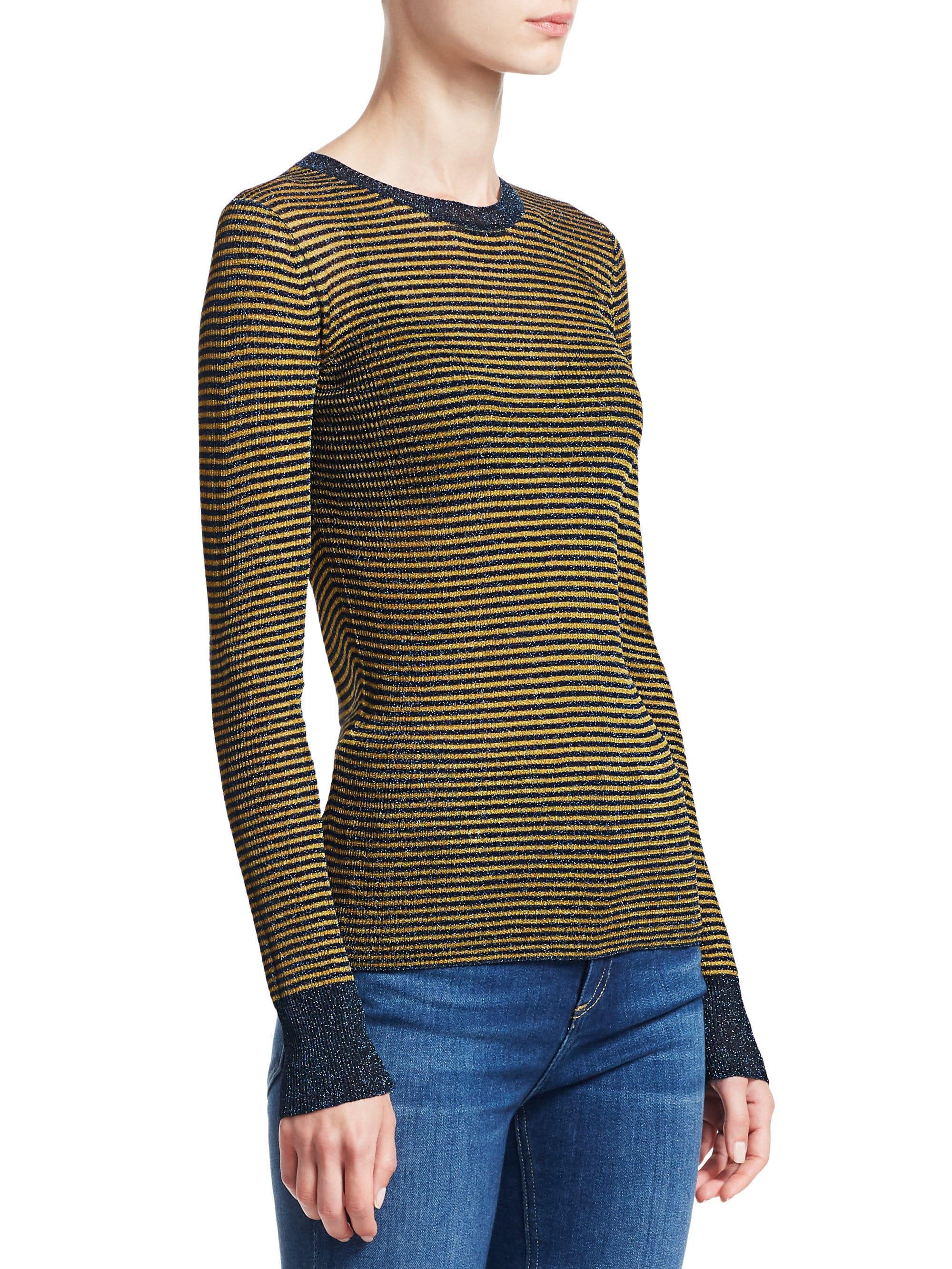 36885ba98bb Lyst - Rag   Bone Women s Raina Lurex Striped Crewneck Sweater ...