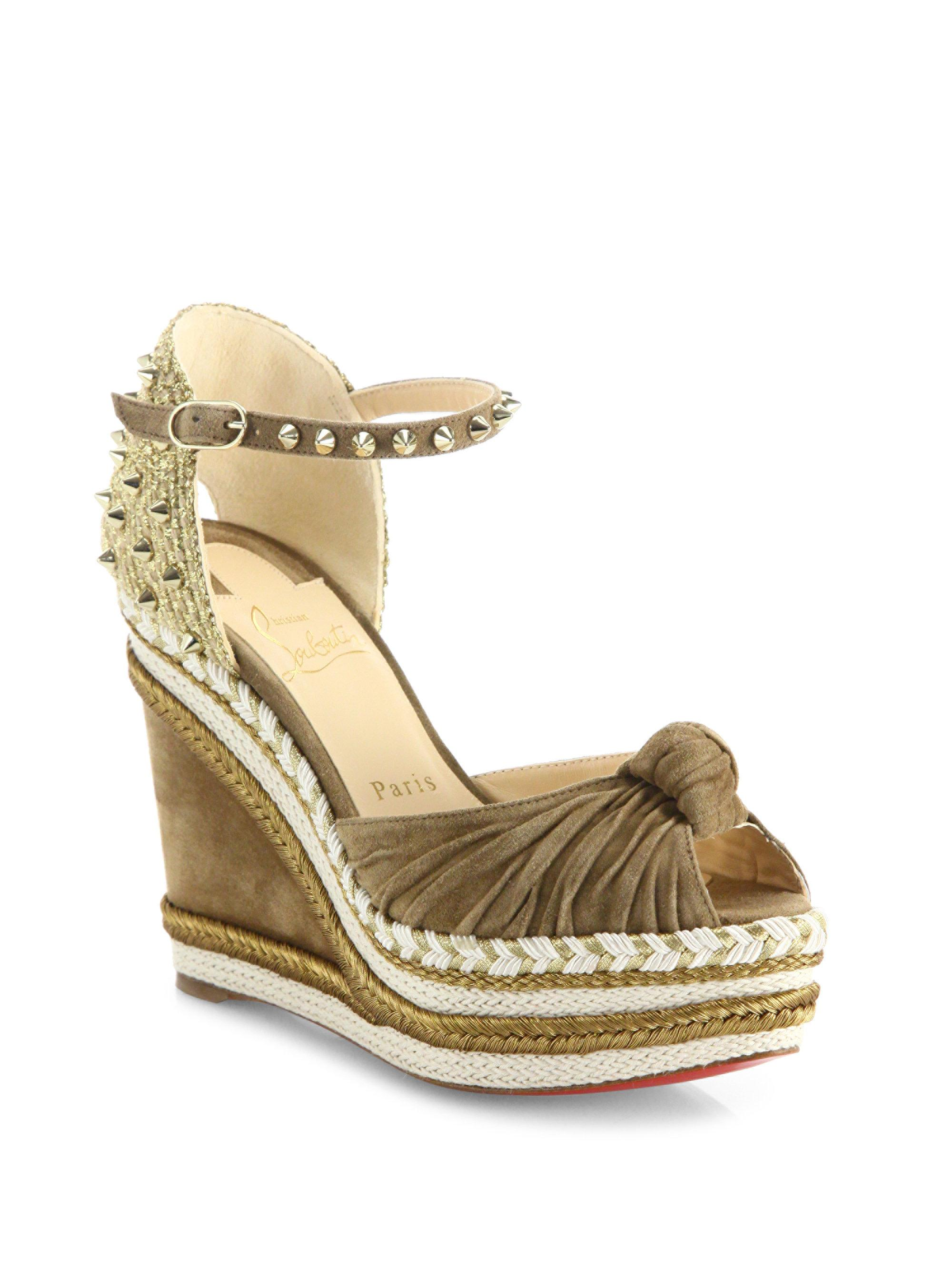 16dfa045d6a4 Lyst - Christian Louboutin Madcarina 120 Knotted Suede Espadrille ...