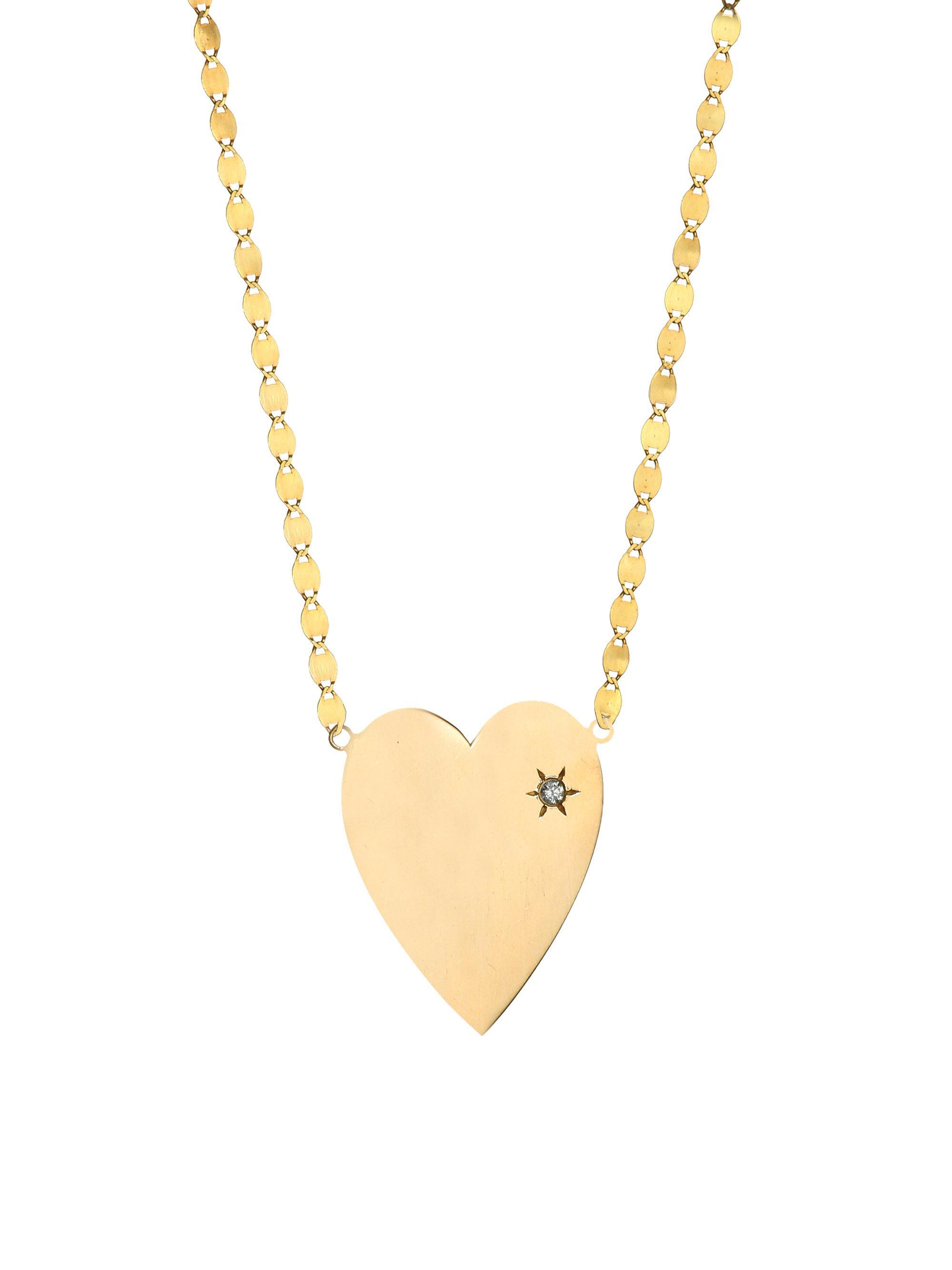 Lana Jewelry 14k Large Heart Pendant Necklace w/ Pink Sapphire HYYgYv