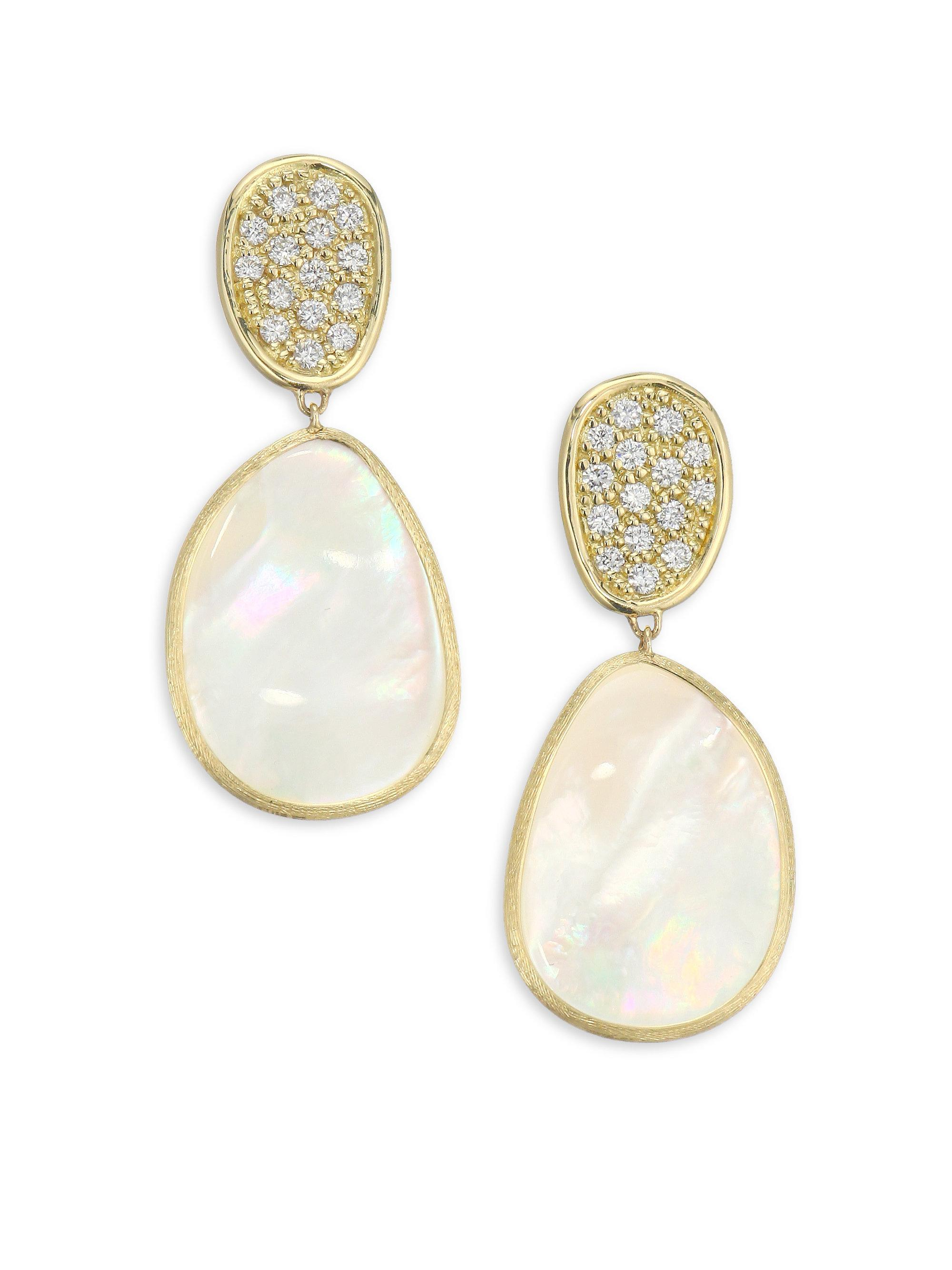 Marco Bicego Lunaria Large Mother-of-Pearl Drop Earrings in 18K Gold BdEWuS63L
