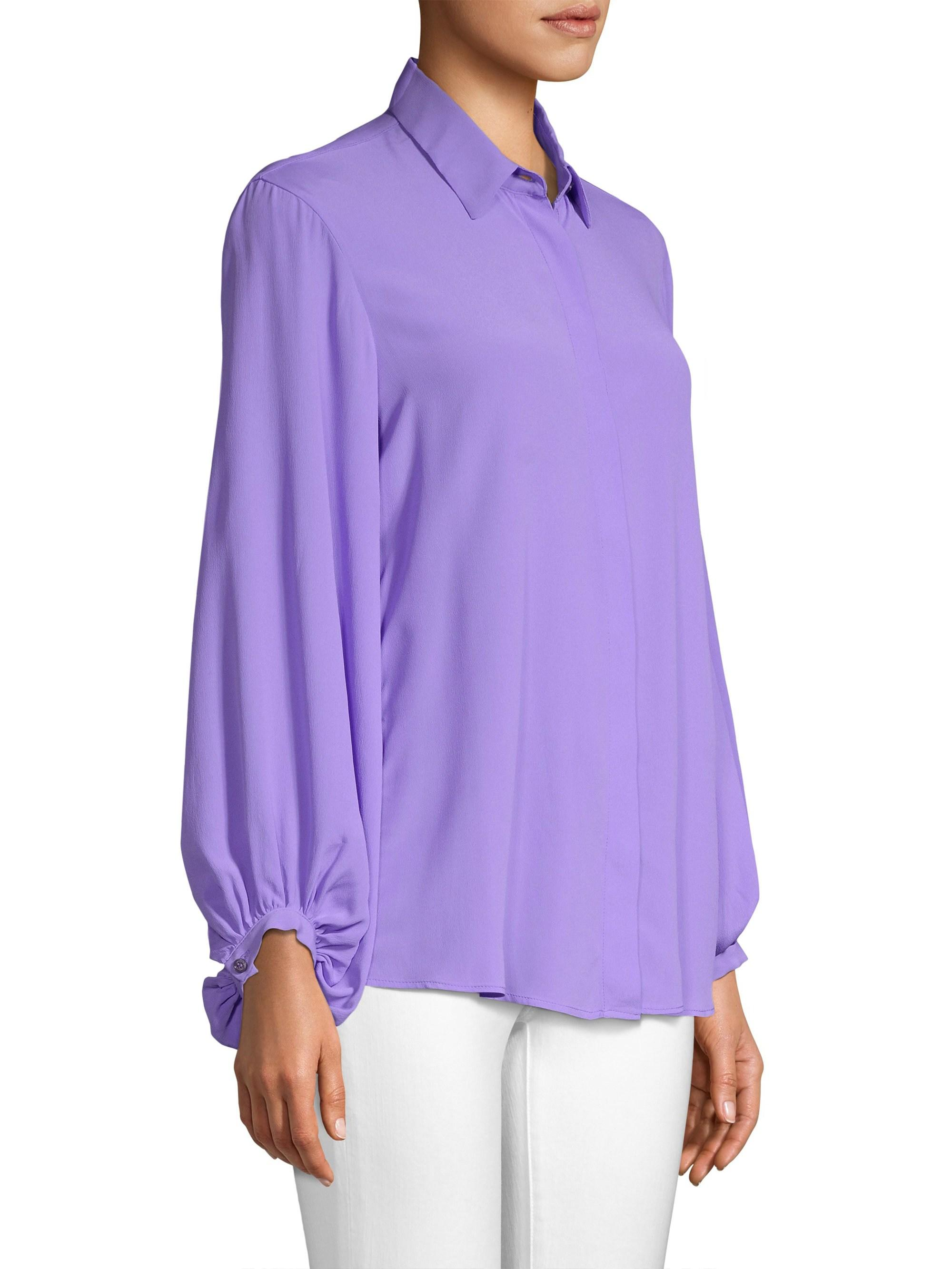 756067a7e10c94 Beatrice B. - Purple Women's Silk-blend Button-front Blouse - Lilac -. View  fullscreen
