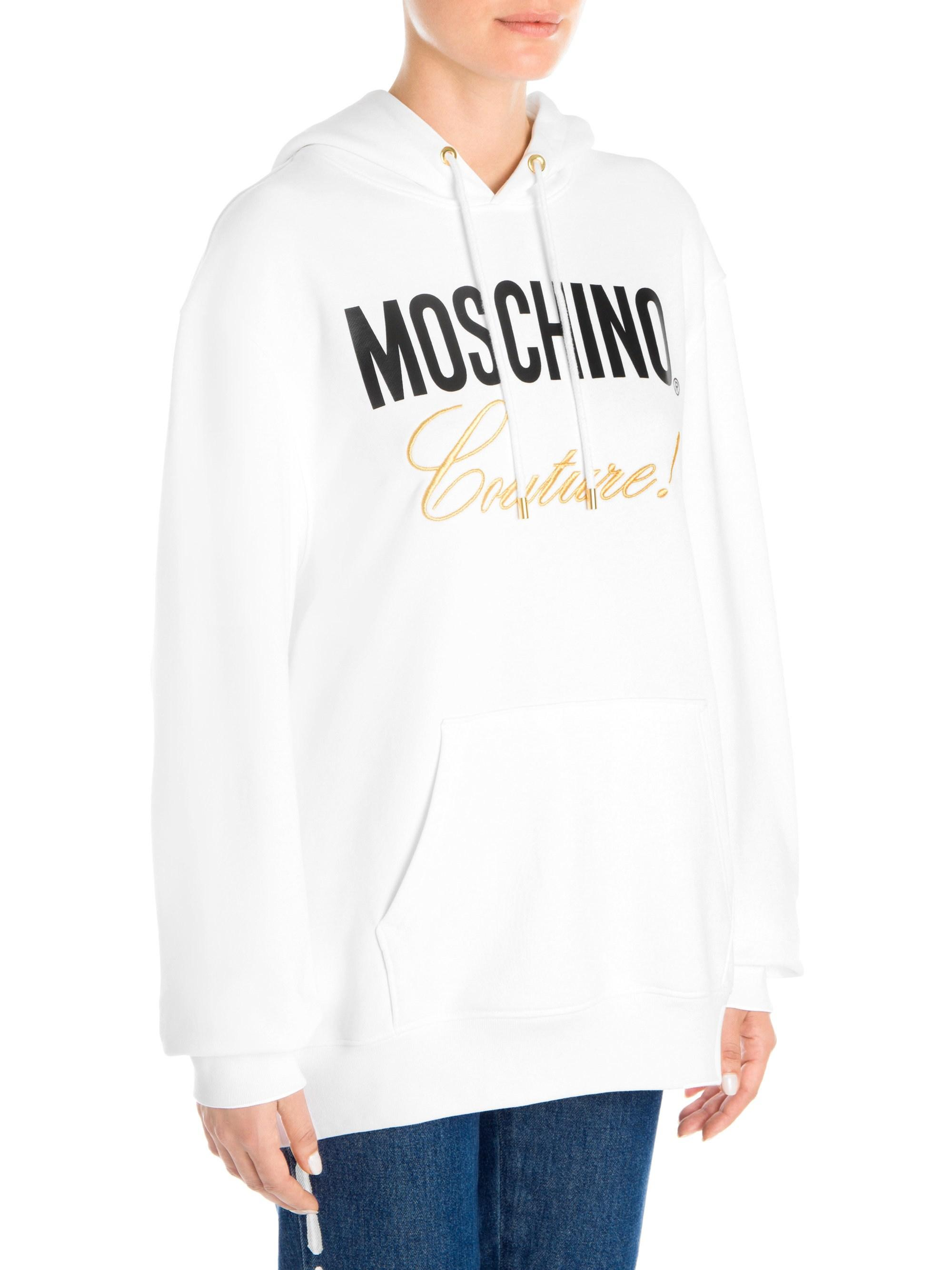 6a50abef37306 Lyst - Moschino Women s Logo Couture Hoodie - White Multi - Size 44 (10) in  White