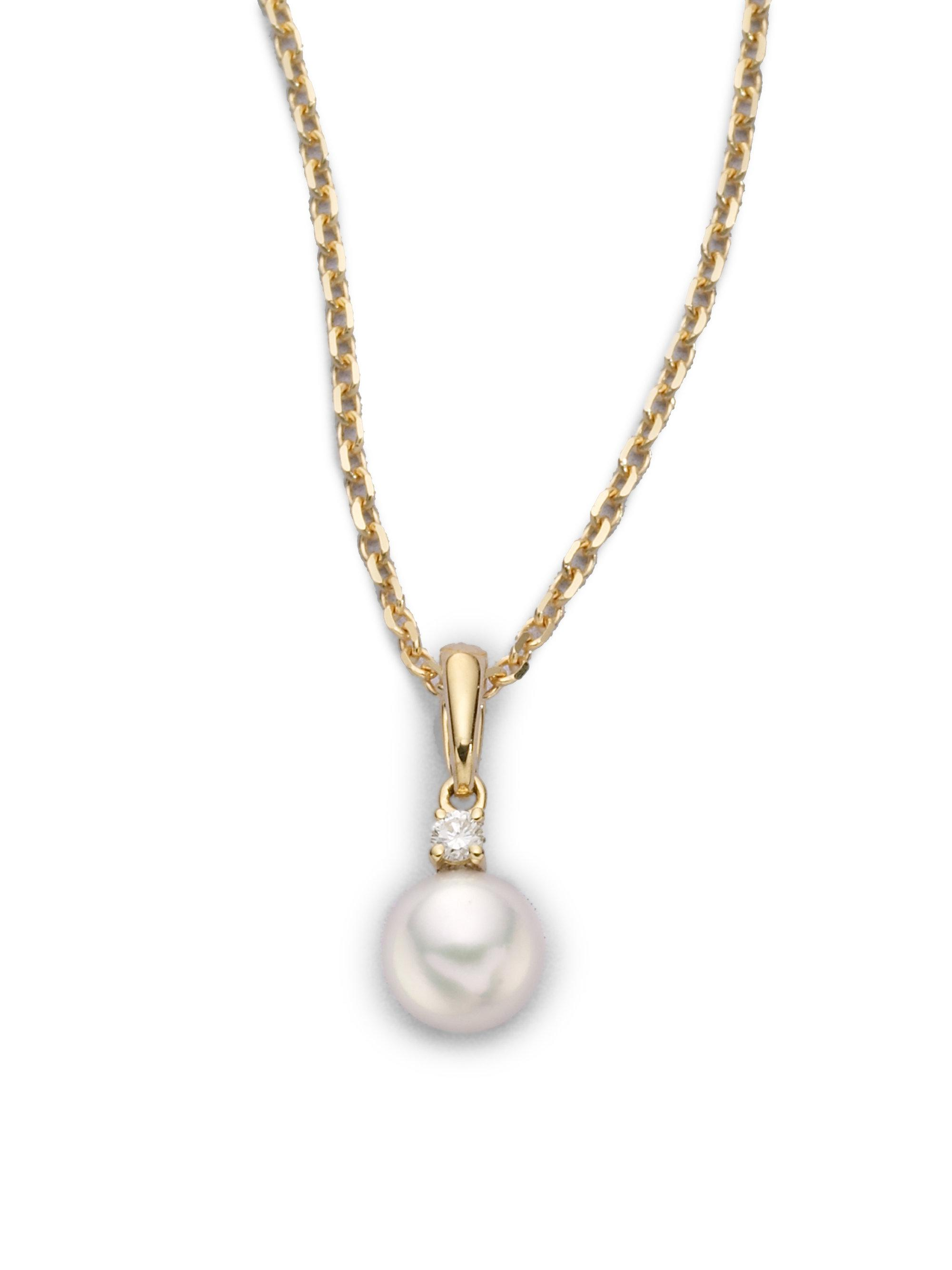 diamond white necklace products pendant clover and gold mikimoto pearl