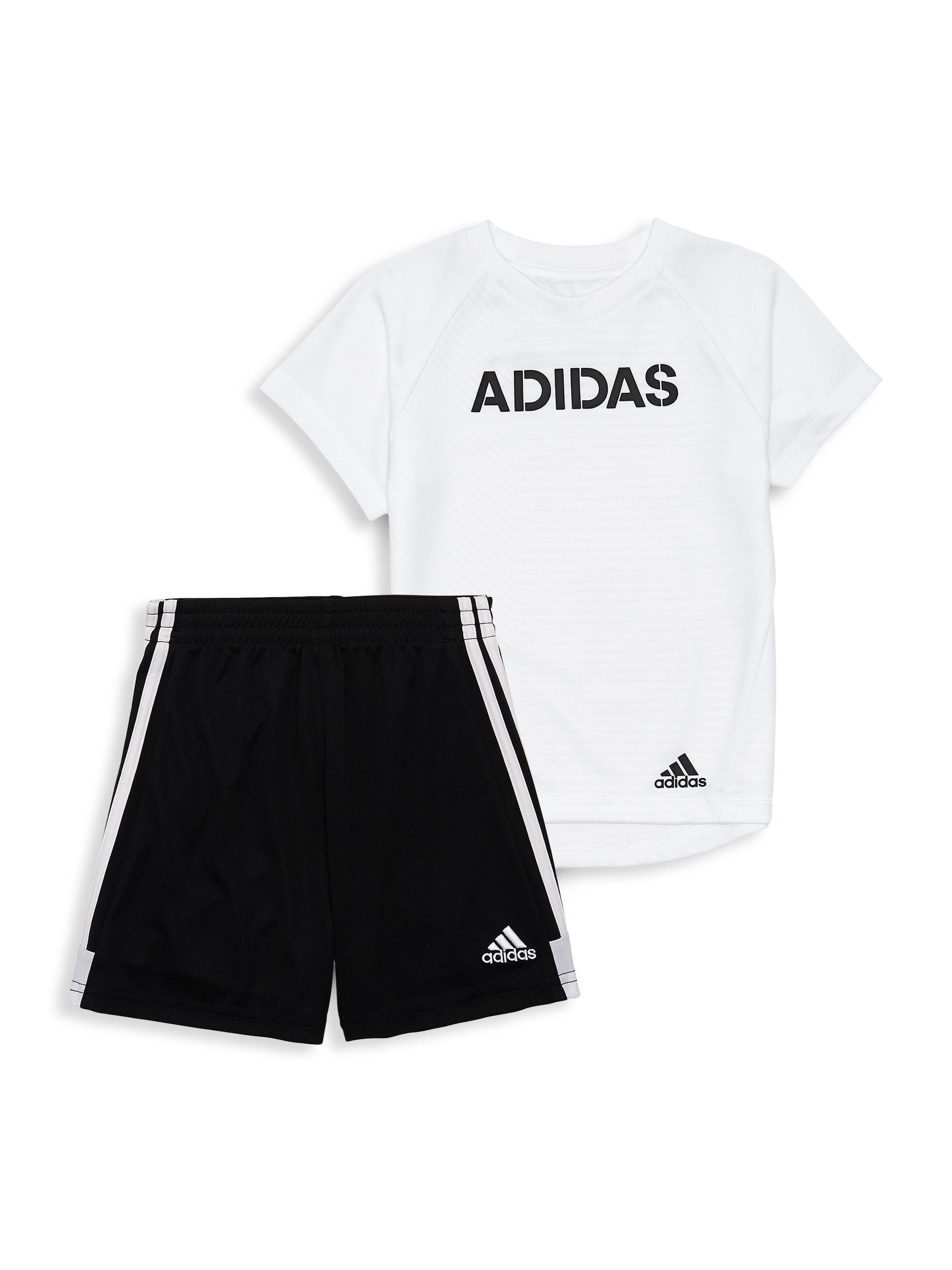 8e34d2883 adidas Baby Boy's Two-piece Logo T-shirt & Shorts Set in White for ...