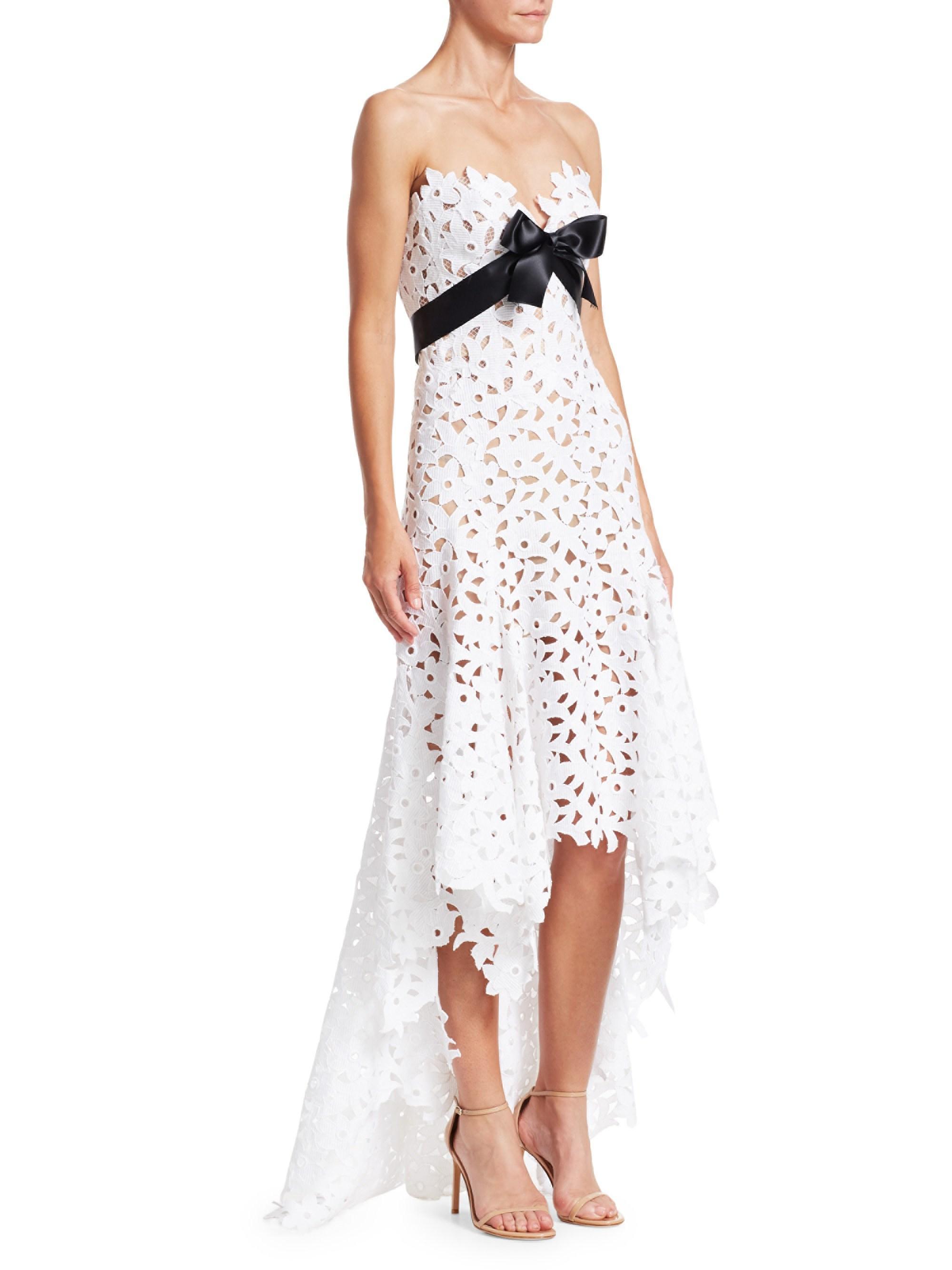 3571621b9b04 Oscar de la Renta Women's Strapless Sweetheart High-low Lace Gown ...
