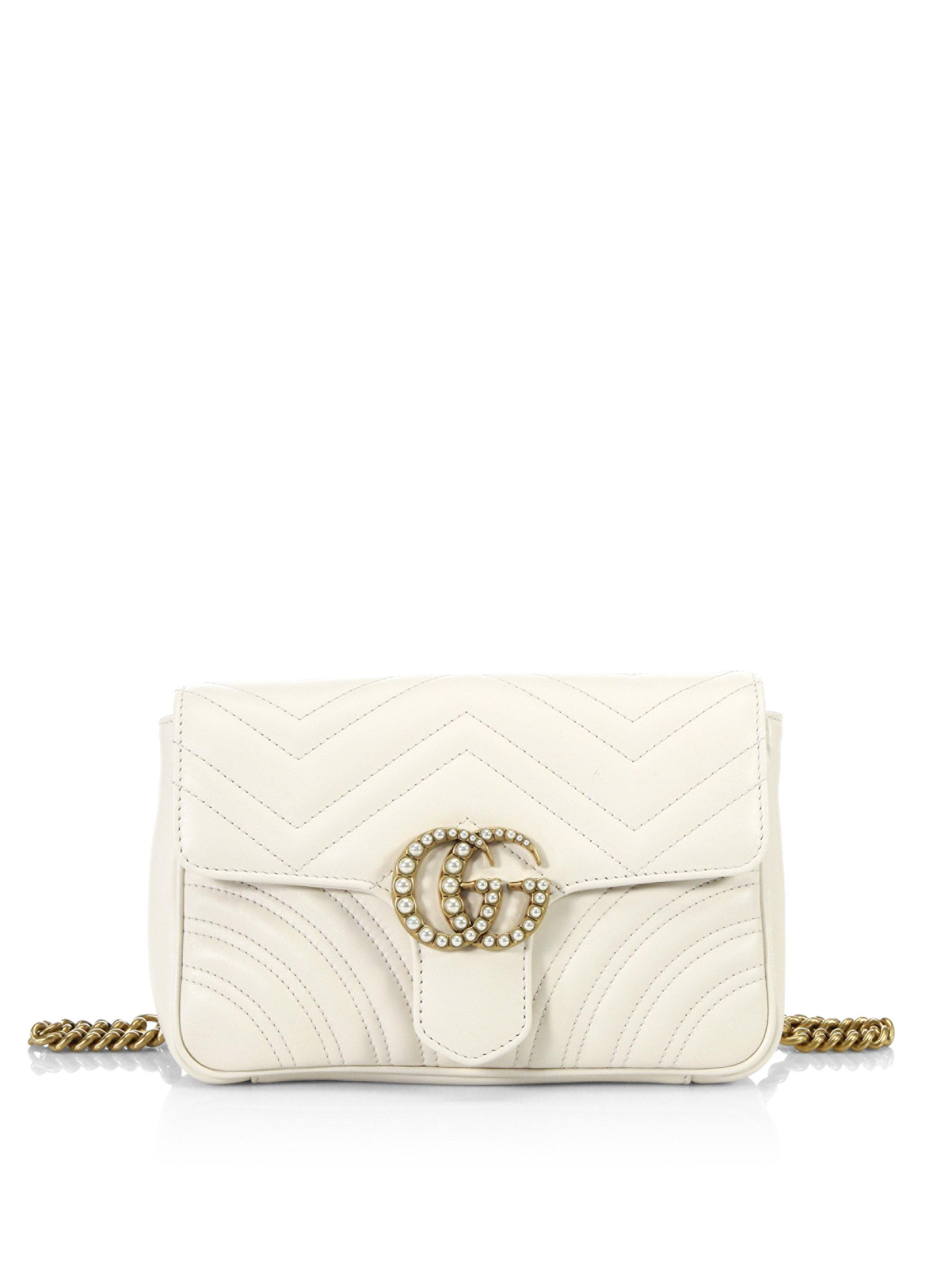 af2c5d2ff1c063 Gucci Gg Marmont Quilted Leather Chain Belt Bag in White - Lyst