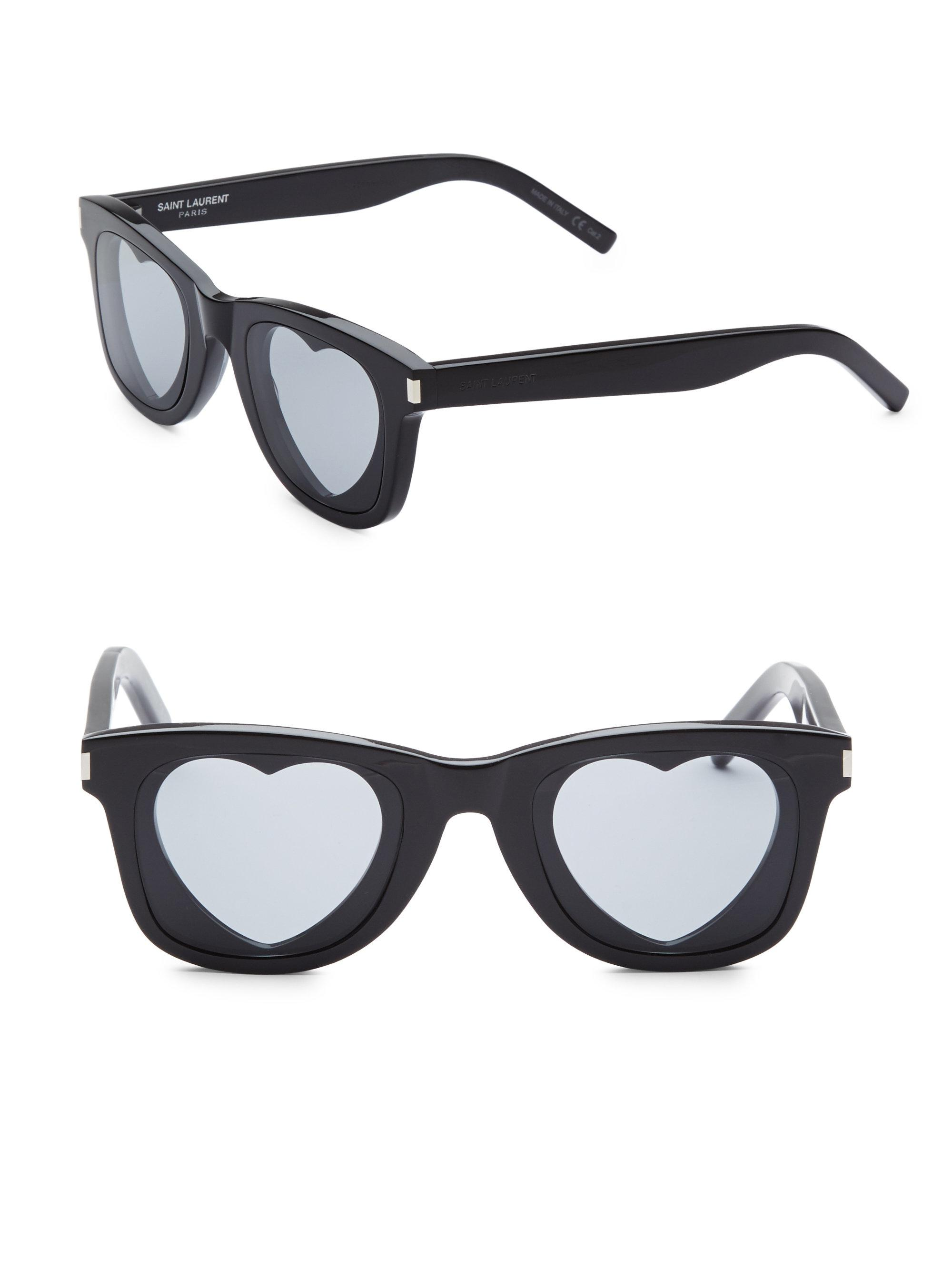 9f59f3514d2 Saint Laurent 50mm Classic 51 Heart Sunglasses in Black - Lyst