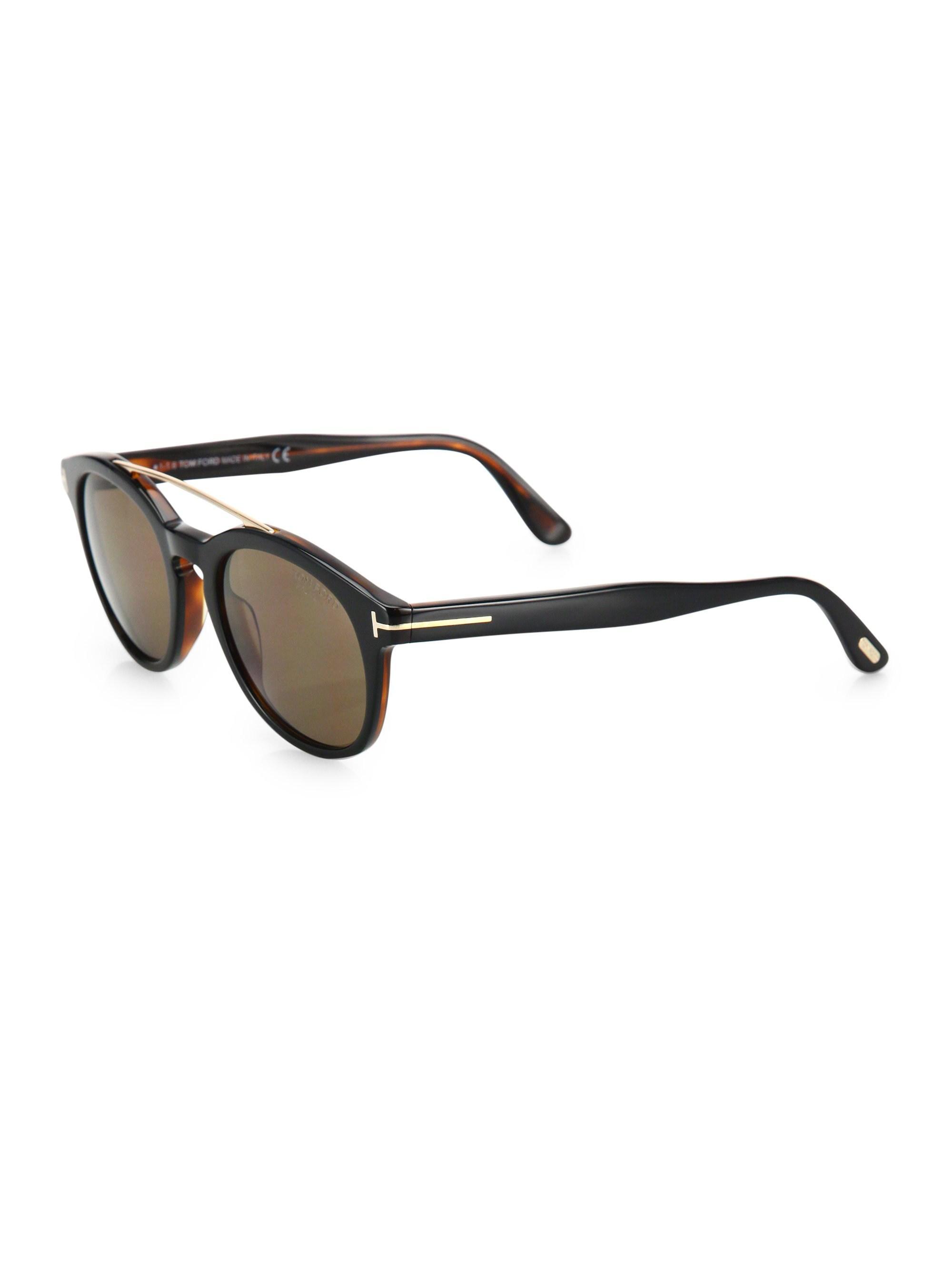 eca6c7b813c Tom Ford - Black Newman 53mm Round Sunglasses for Men - Lyst. View  fullscreen