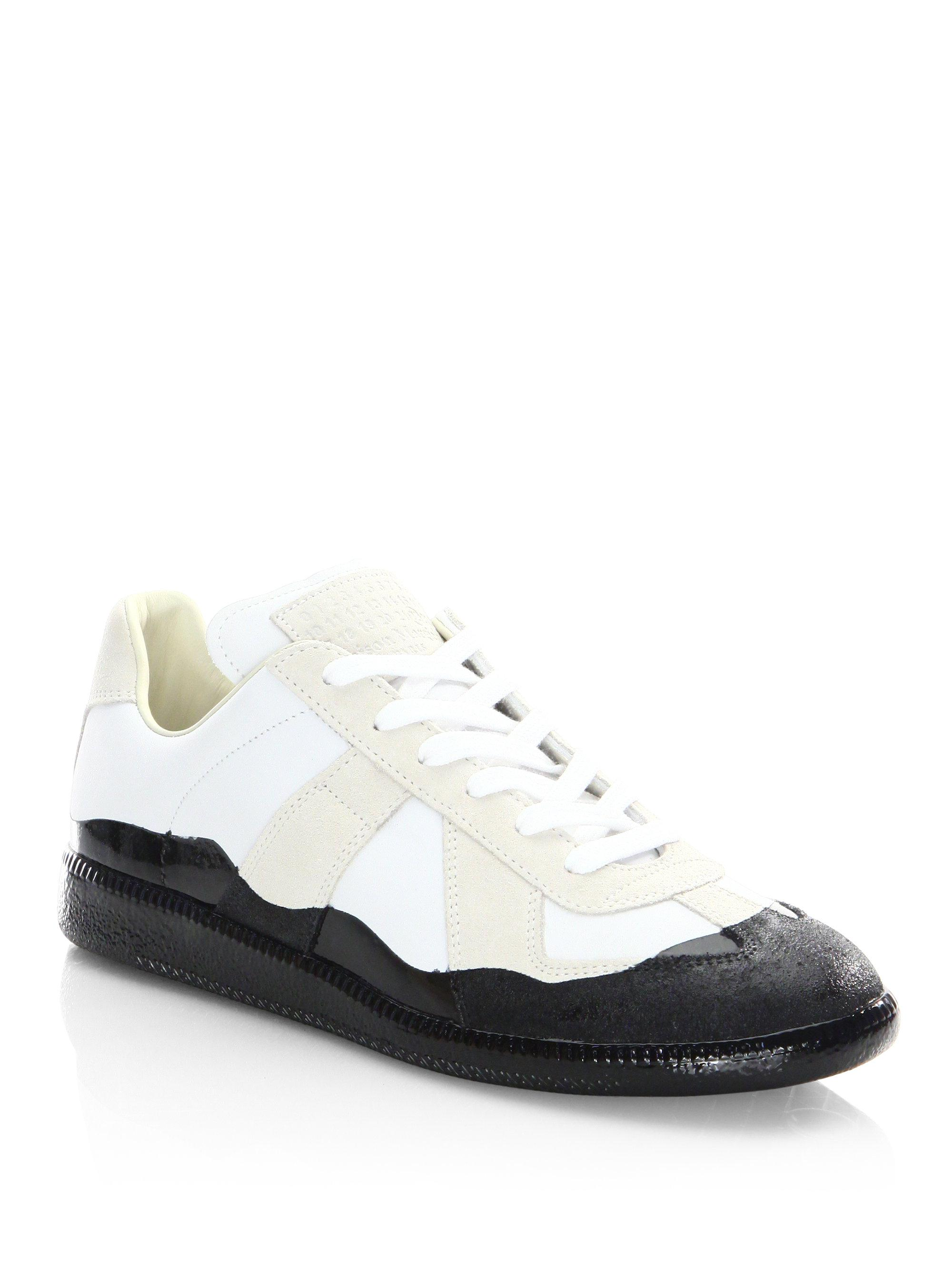 Maison Margiela. Men's White Replica Dipped Low-top Leather Sneakers