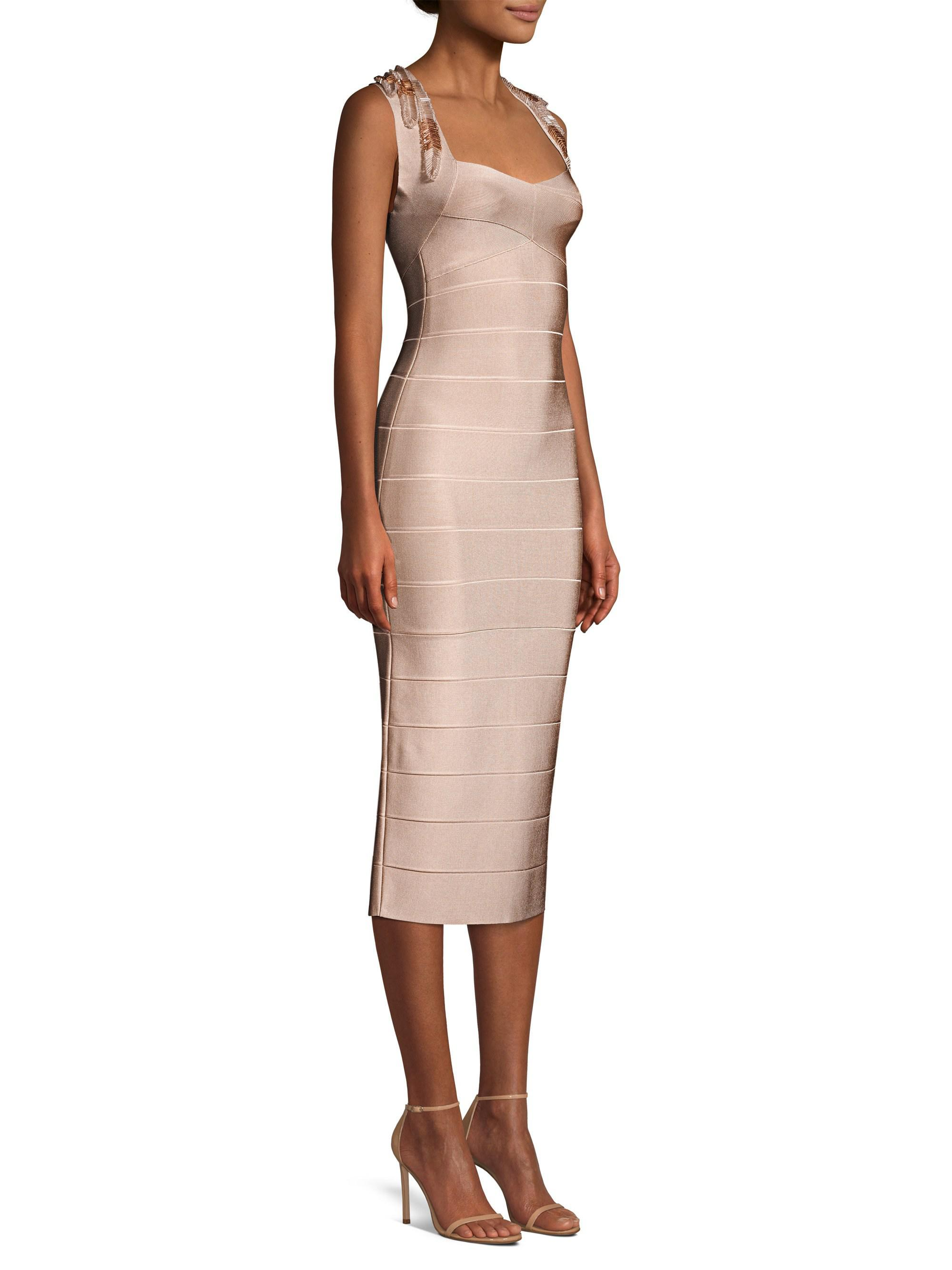 fa345230f278 Hervé Léger. Women s Sleeveless Beaded Trim Bandage Dress