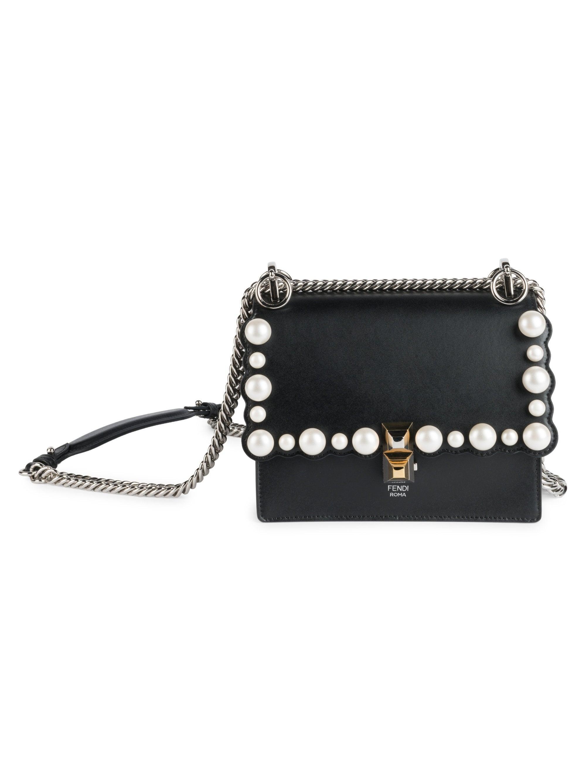 f1225be26347 Lyst - Fendi Women s Kan I Small Crossbody Bag - Black in Black ...