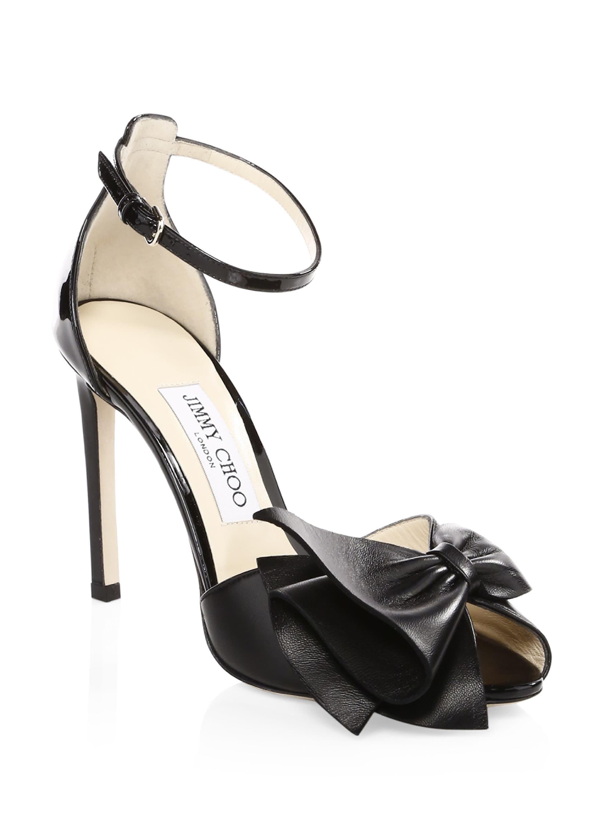 f6c471bb01 Jimmy Choo Women's Karlotta Peep Toe Heels - Black in Black - Lyst