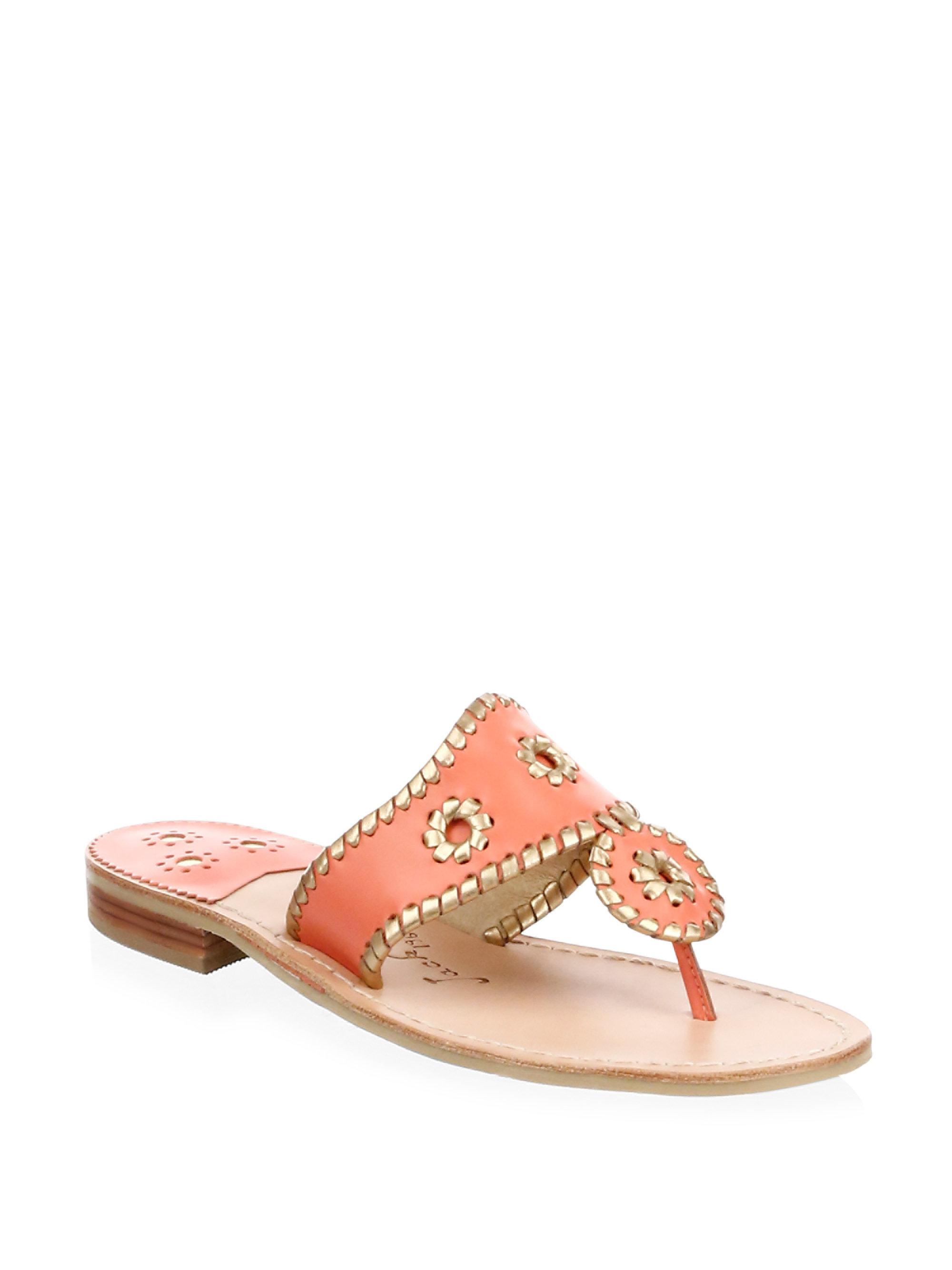 e49b165cde3e Lyst - Jack Rogers Hollis Leather Thong Sandals in Pink