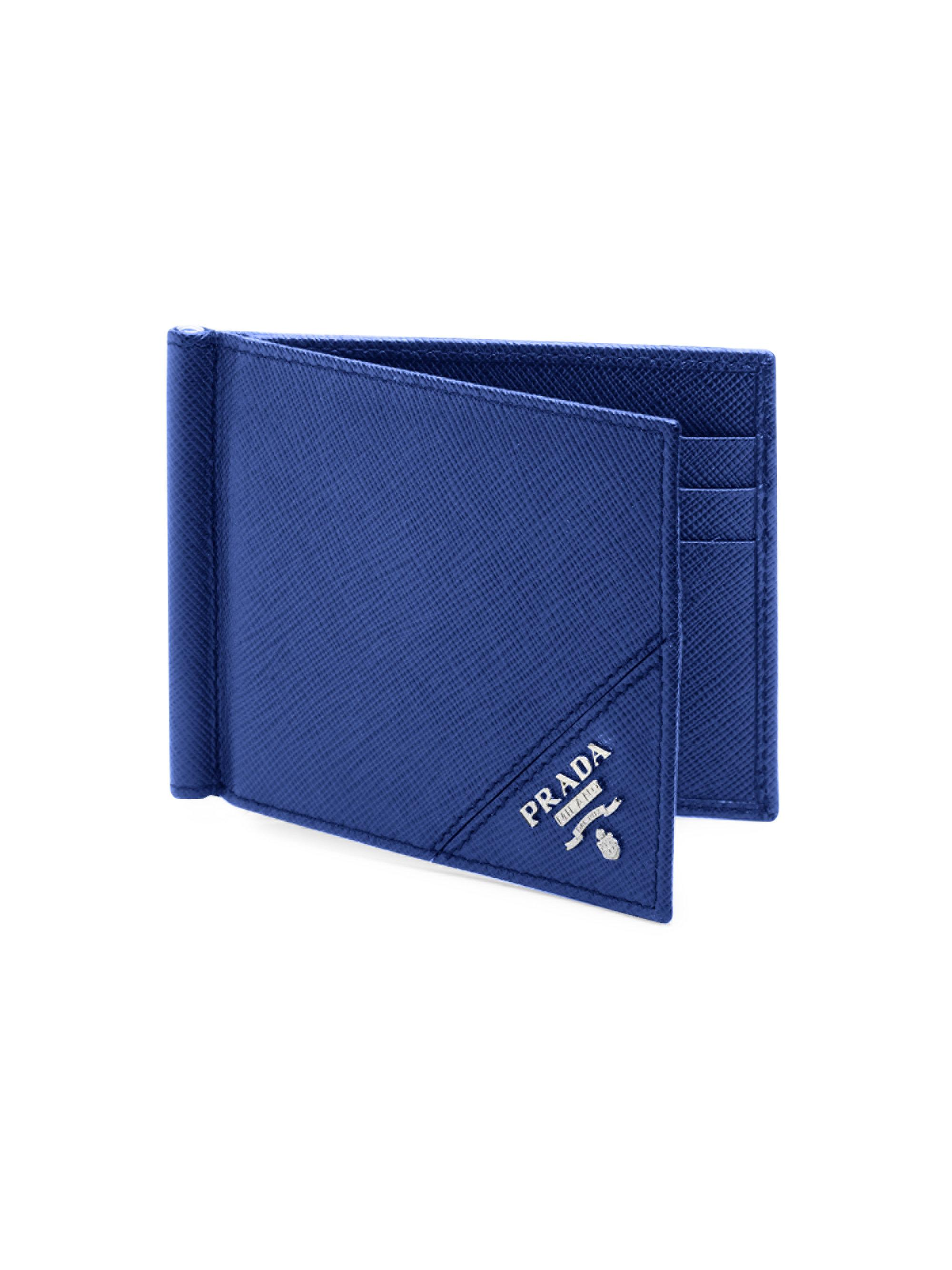 67d431b06ef0ab ... wholesale prada blue saffiano leather wallet for men lyst. view  fullscreen 090d3 cfec2