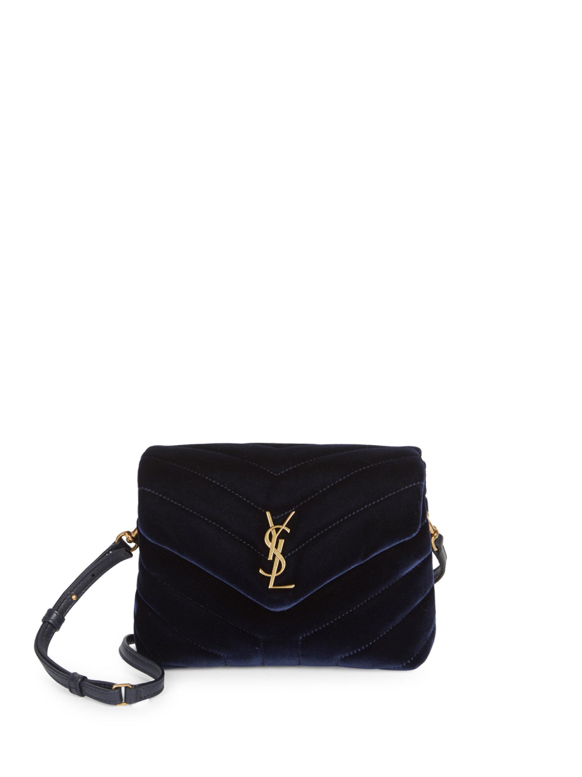 118a732ac114 Saint Laurent Toy Loulou Velvet Crossbody Bag in Black - Lyst