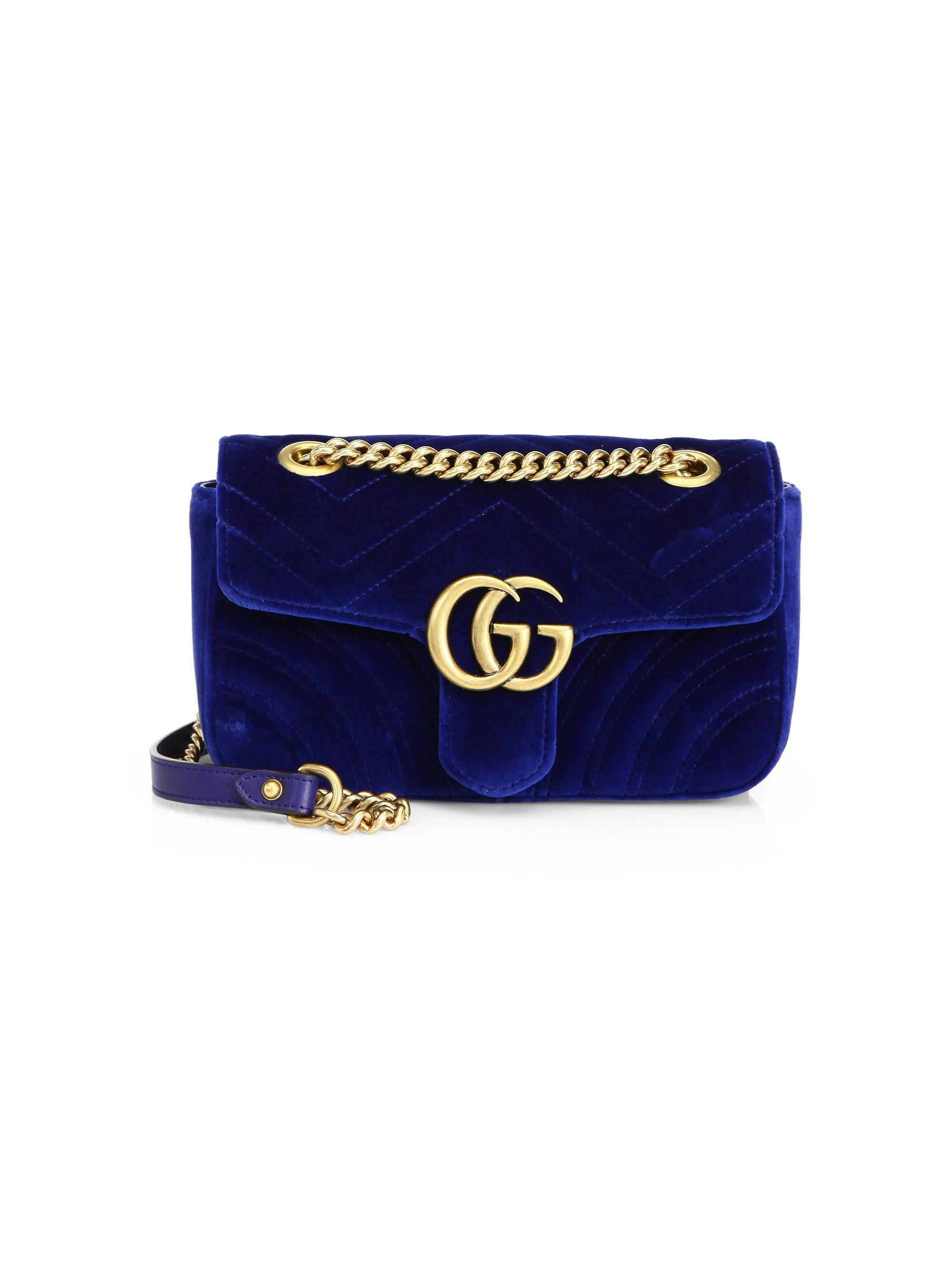 0e09ddfc3ee8 Gucci. Blue Women's Mini GG Marmont Velvet Bag - Black. $1,590 From Saks  Fifth Avenue