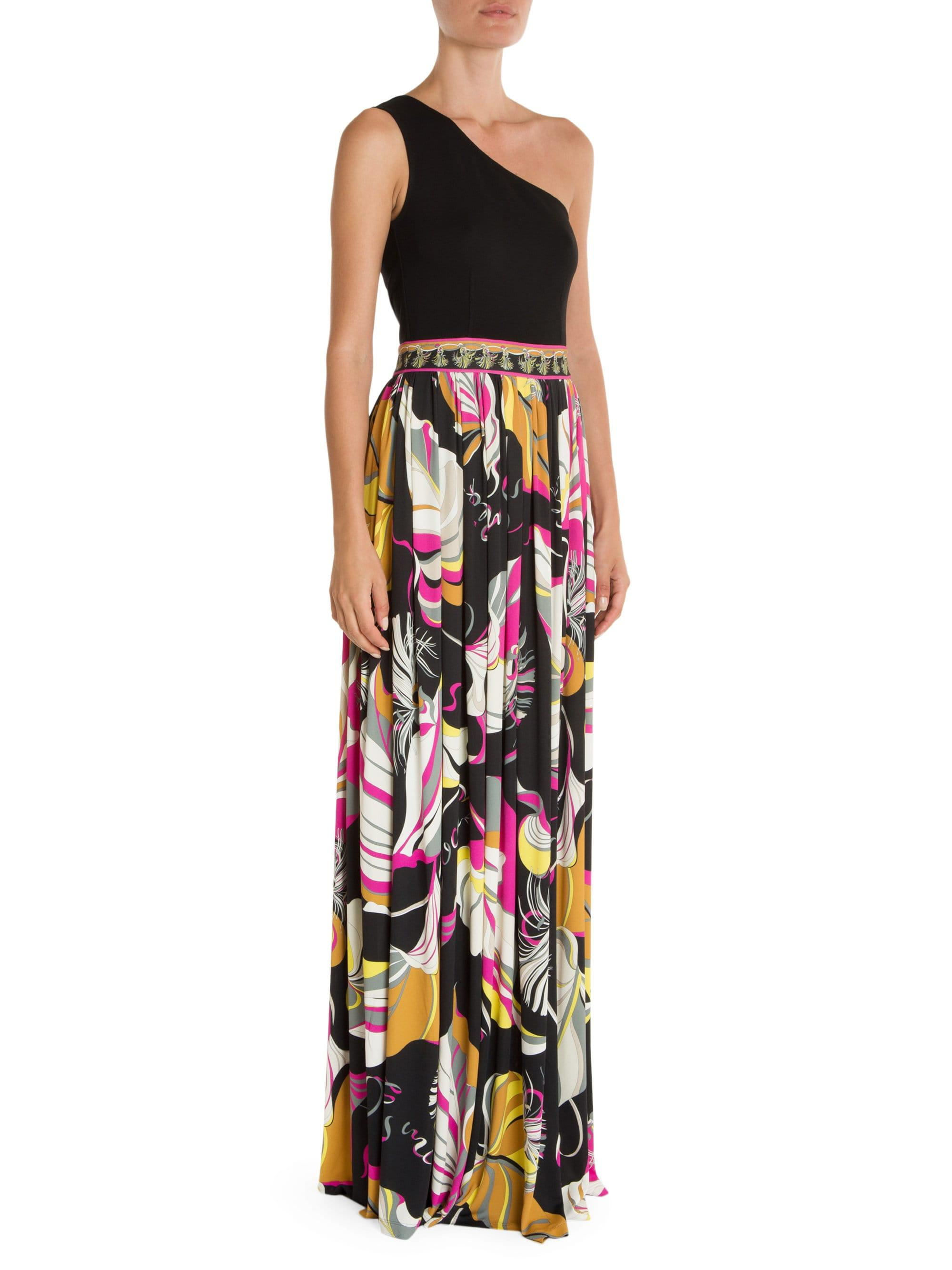 9cd1f78f0a01 Lyst - Emilio Pucci One-shoulder Printed Gown in Black