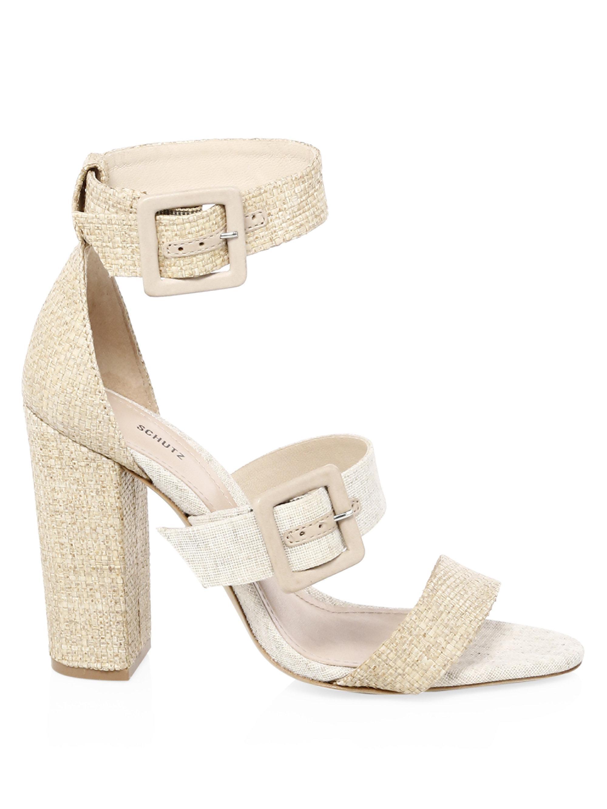 Schutz Sarah Raffia Ankle-Strap Sandals IAgv1ZN