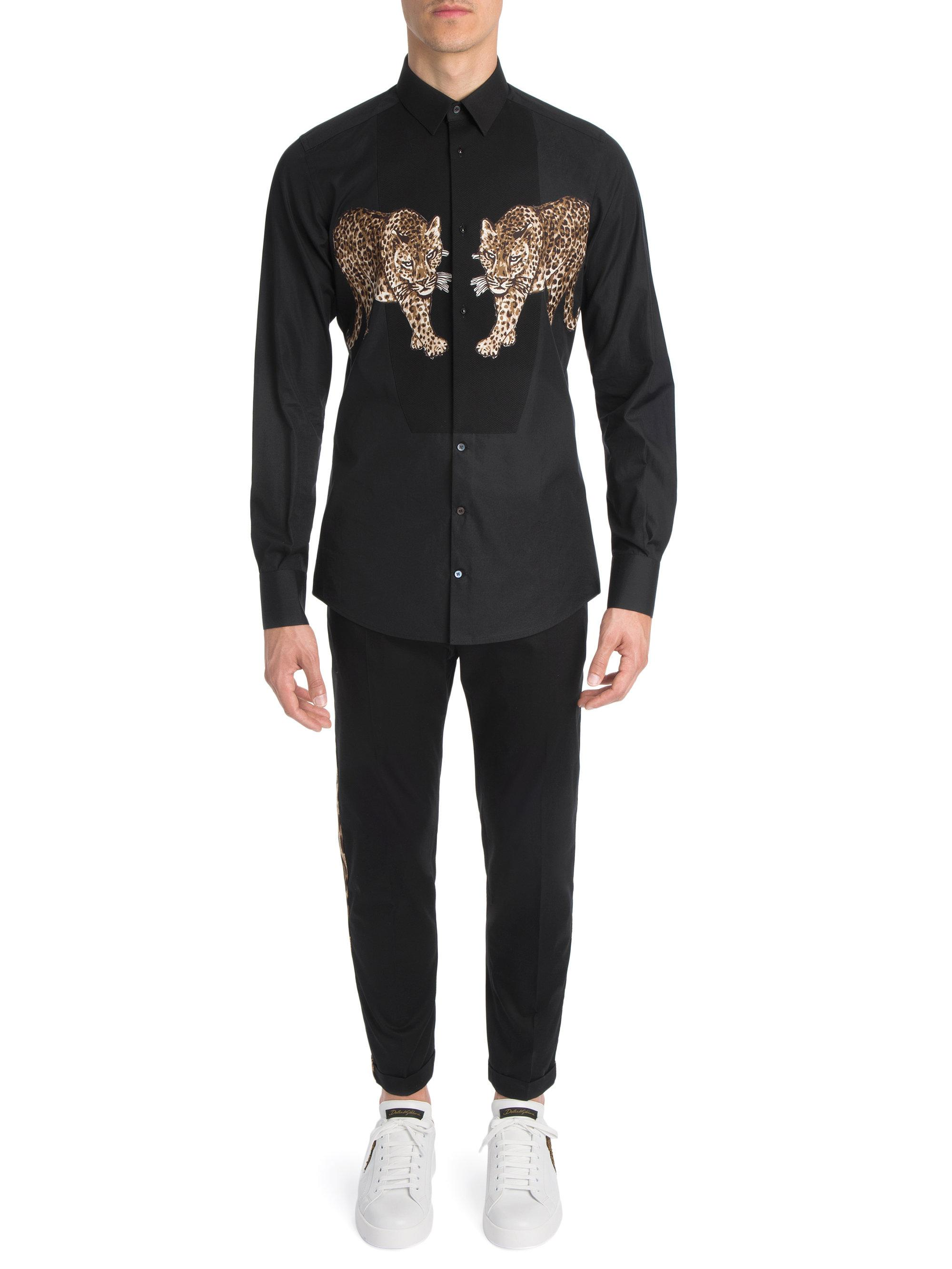 20f9d6b8ac55 Dolce & Gabbana Leopard Button-down Shirt in Black for Men - Lyst